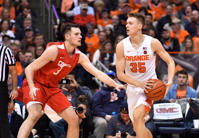 Dec 1, 2018; Syracuse, NY, USA; Syracuse Orange guard Buddy Boeheim (35) controls the ball against his brother Cornell Big Red forward Jimmy Boeheim (3) in the first half at the Carrier Dome. Mandatory Credit: Mark Konezny-USA TODAY Sports