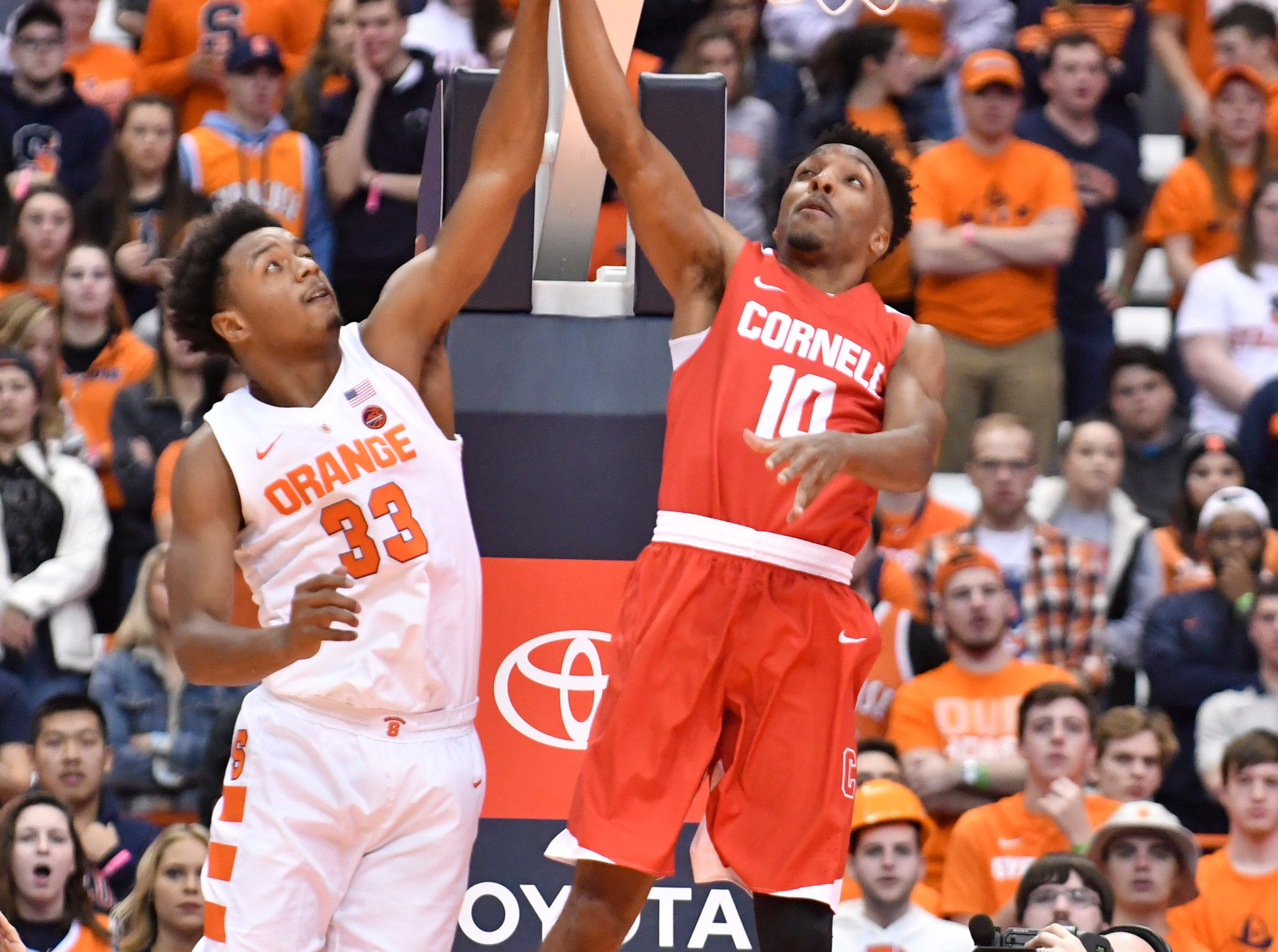Dec 1, 2018; Syracuse, NY, USA; Cornell Big Red guard Matt Morgan (10) shoots the ball as Syracuse Orange forward Elijah Hughes (33) defends during the first half at the Carrier Dome. Mandatory Credit: Mark Konezny-USA TODAY Sports