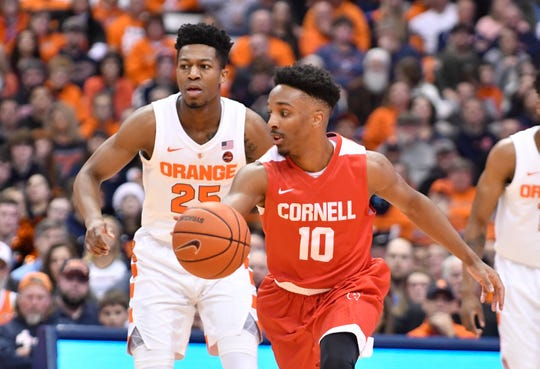 Dec 1, 2018; Syracuse, NY, USA; Cornell Big Red guard Matt Morgan (10) dribbles the ball in front of Syracuse Orange guard Tyus Battle (25) during the first half at the Carrier Dome. Mandatory Credit: Mark Konezny-USA TODAY Sports