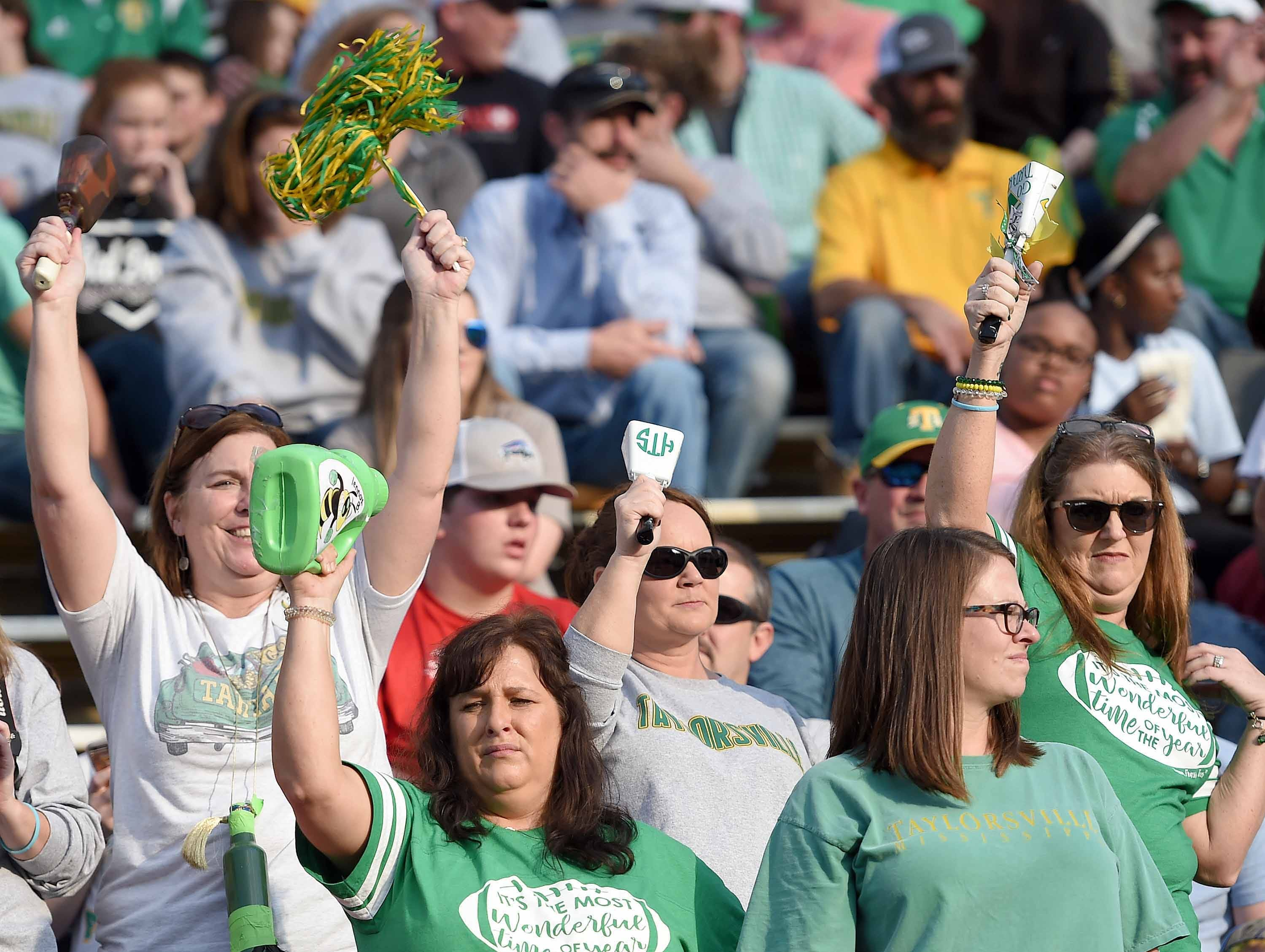 Taylorsville fans cheer for the Tartars on Saturday, December 1, 2018, in the MHSAA BlueCross BlueShield Gridiron Classic High School Football Championships in M.M. Roberts Stadium on the University of Southern Mississippi campus in Hattiesburg, Miss.