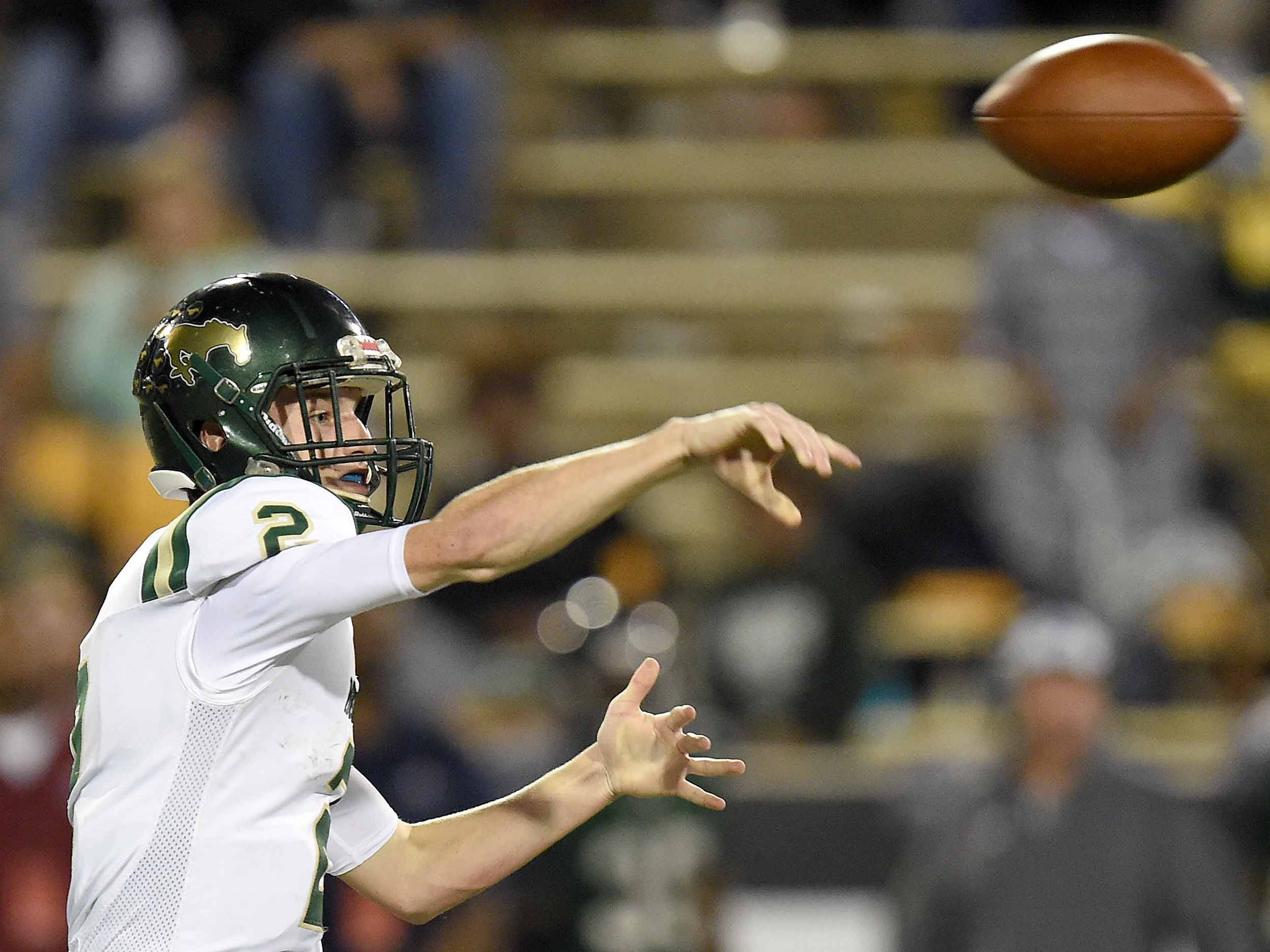 West Jones' Alan Follis (2) throws against West Point on Saturday, December 1, 2018, in the MHSAA BlueCross BlueShield Gridiron Classic High School Football Championships in M.M. Roberts Stadium on the University of Southern Mississippi campus in Hattiesburg, Miss.