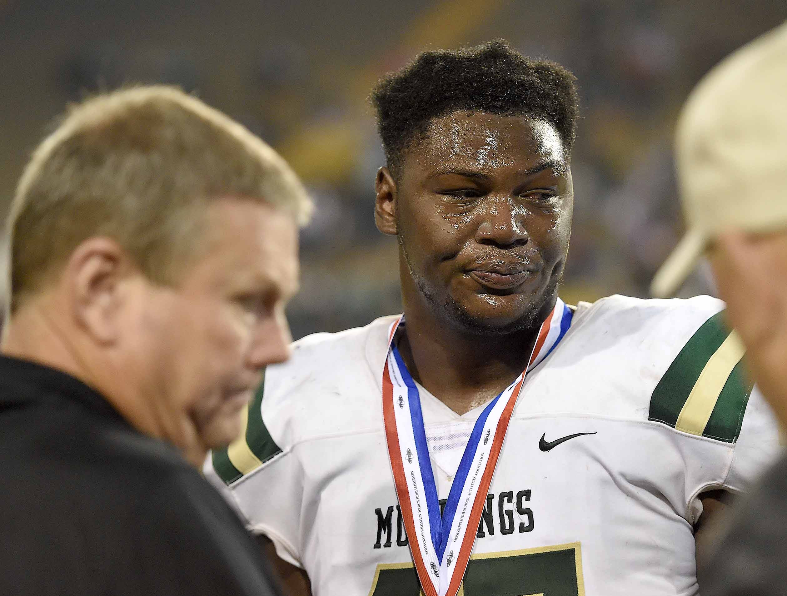 West Jones' Byron Young receives his silver medal on Saturday, December 1, 2018, in the MHSAA BlueCross BlueShield Gridiron Classic High School Football Championships in M.M. Roberts Stadium on the University of Southern Mississippi campus in Hattiesburg, Miss.