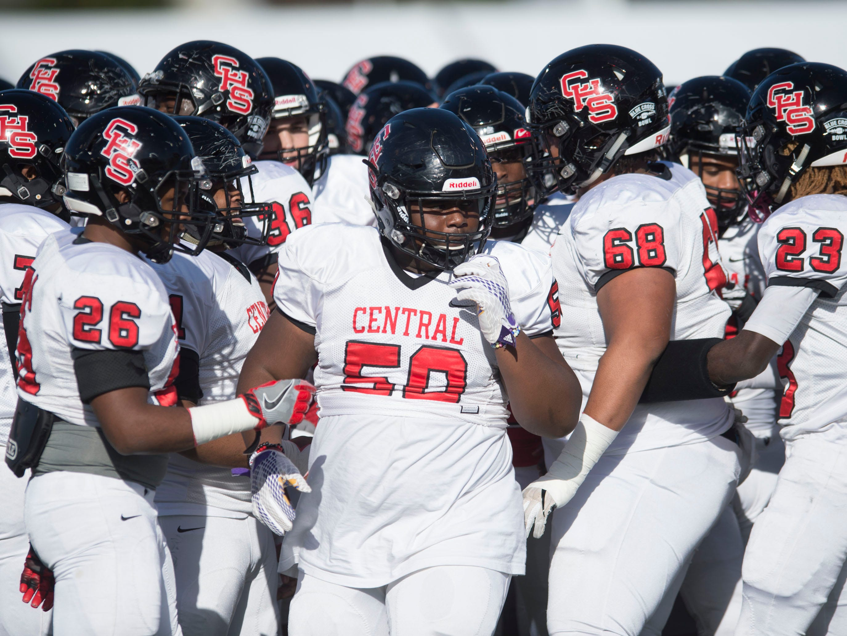 Knoxville Central warming up before the start of the game against Henry County in the Class 5A BlueCross Bowl at Tucker Stadium on Sunday, December 2, 2018.