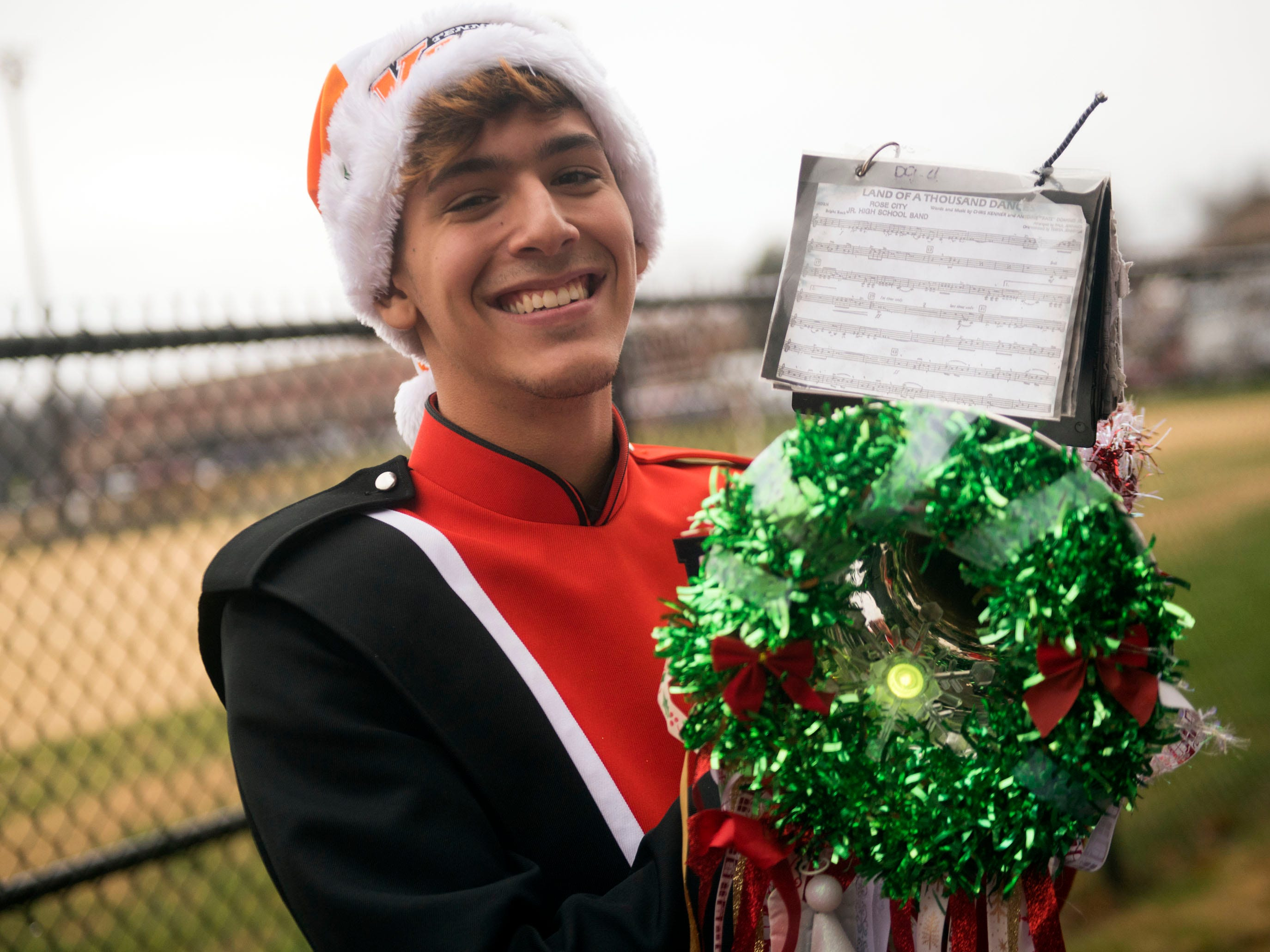 Andrew Whittemore of the Powell High School Marching Panther Band during the Powell Lions Club Christmas Parade on Saturday, December 1, 2018.