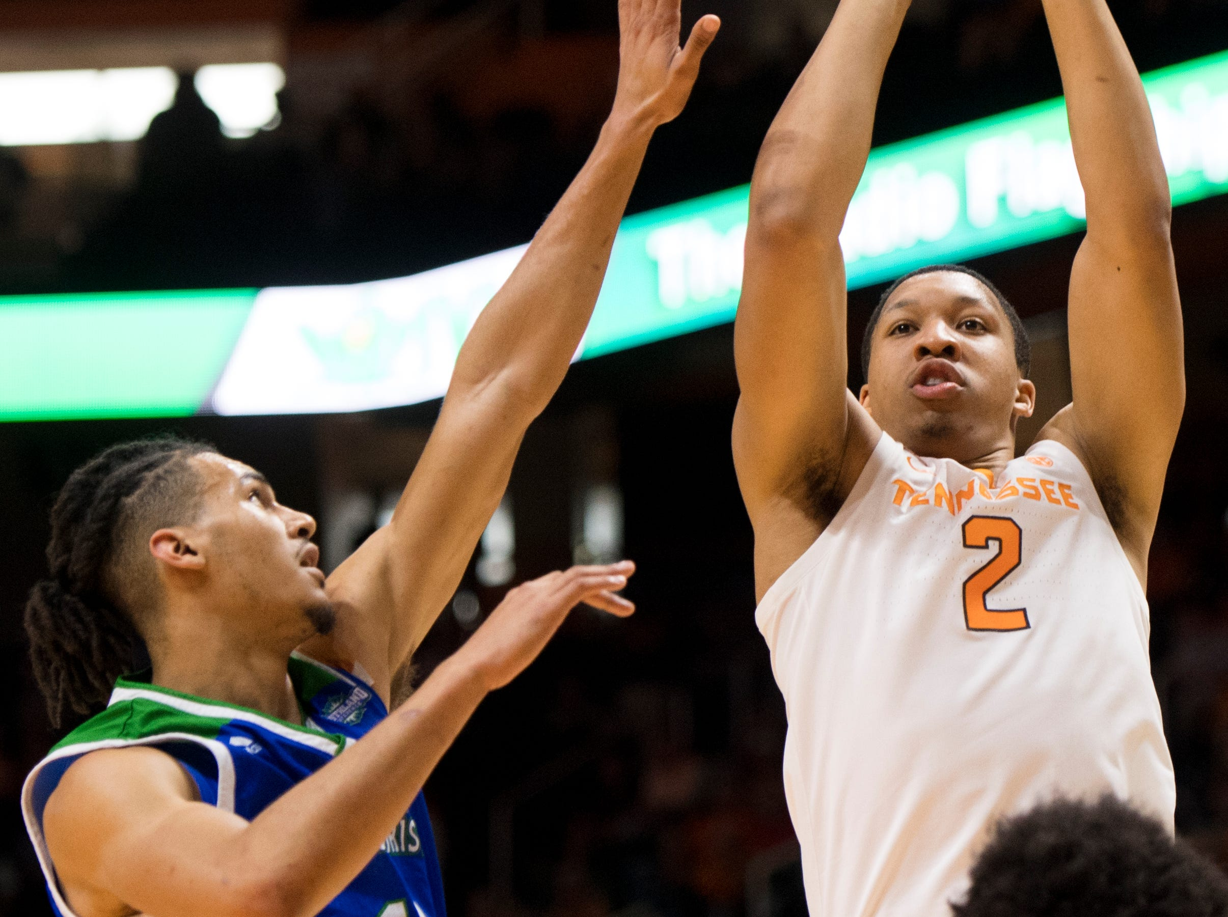 Tennessee forward Grant Williams (2) attempts a shot during the first half of the Tennessee Volunteers' home basketball game against the Texas A&M-Corpus Christi Islanders at Thompson-Boling Arena on Sunday, December 2, 2018.