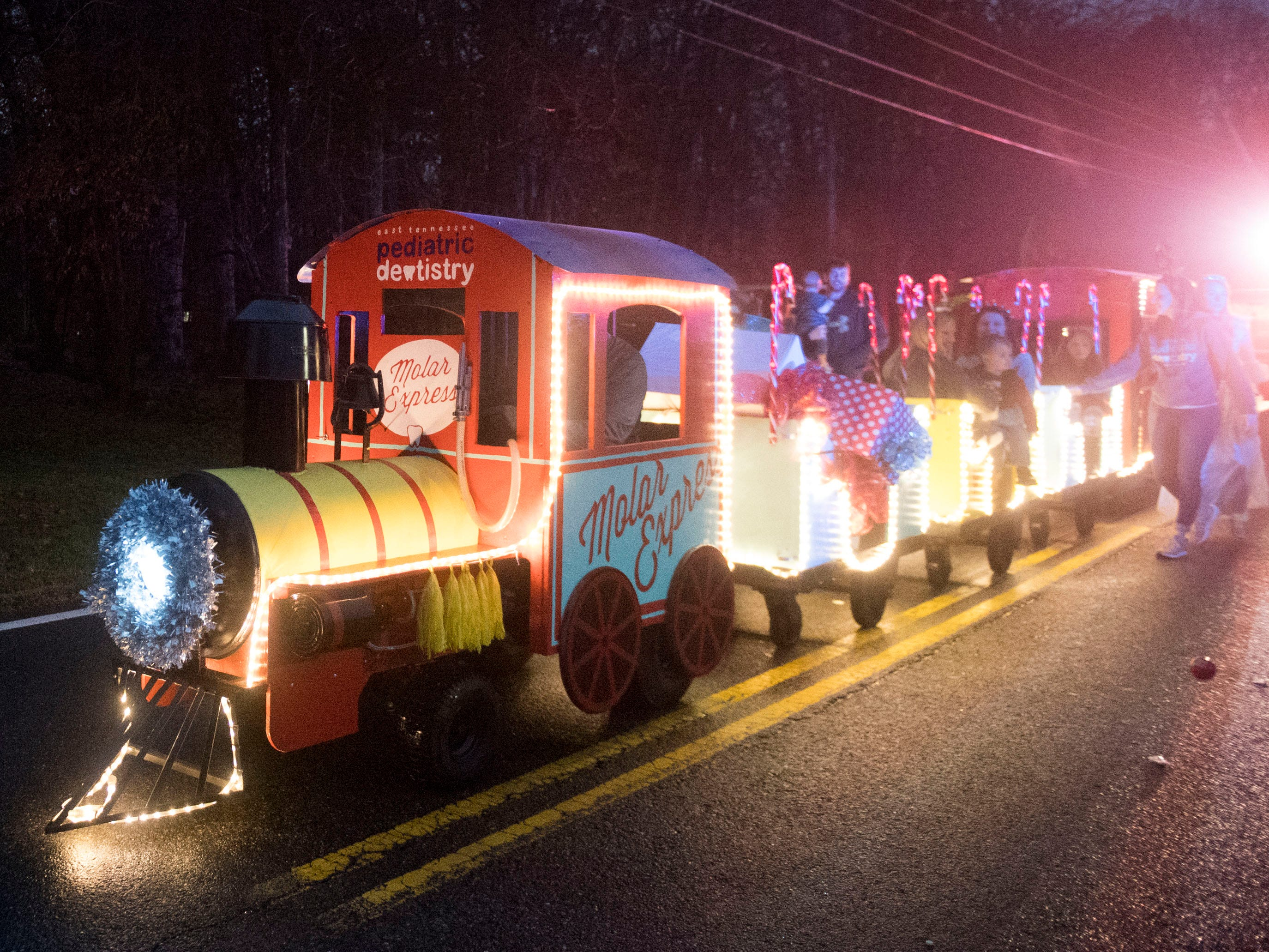 East Tennessee Pediatric Dentistry's Molar Express at the Powell Lions Club Christmas Parade on Saturday, December 1, 2018.