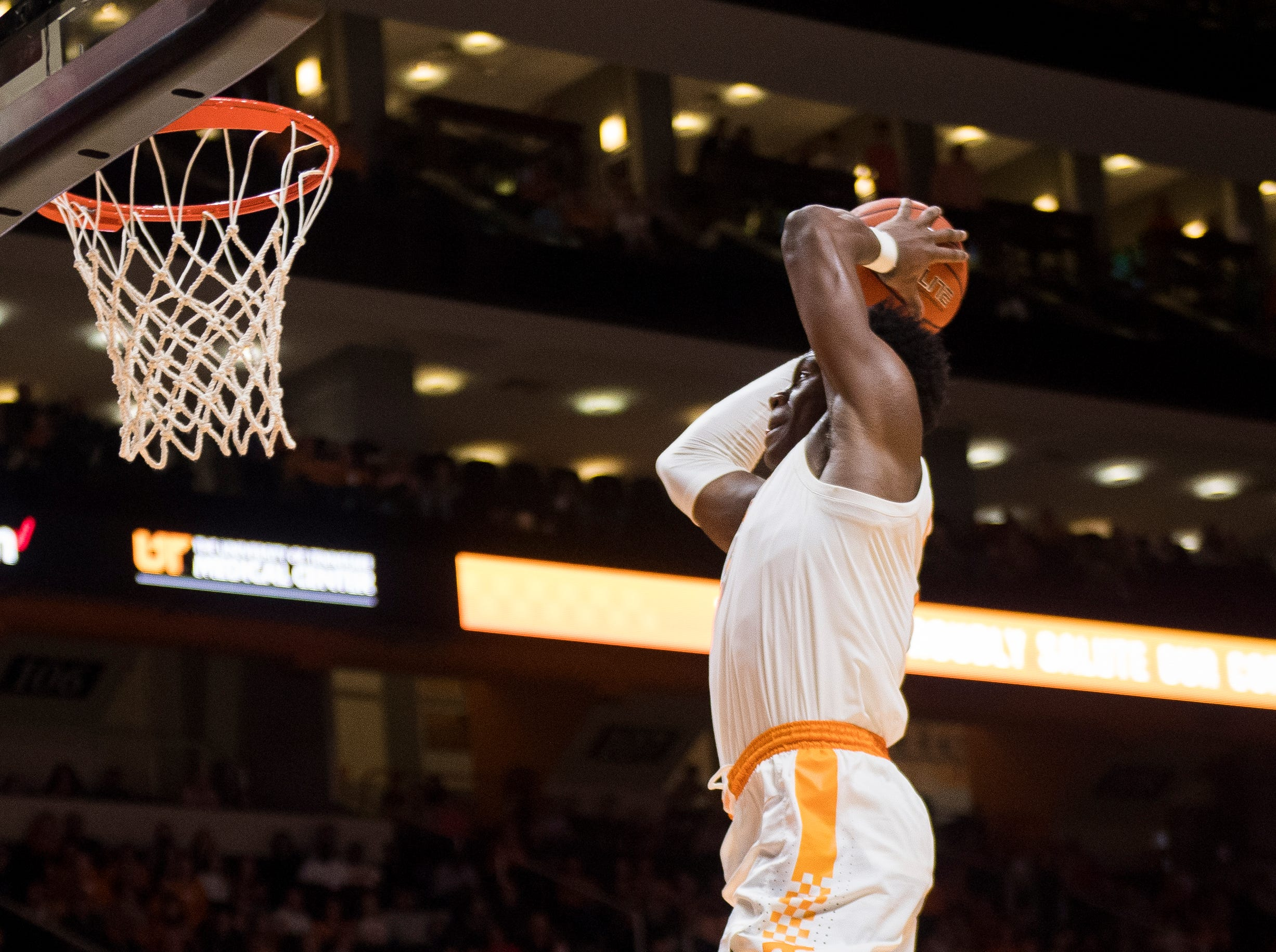 Tennessee guard Admiral Schofield (5) goes for a dunk during the second half of the Tennessee Volunteers' home basketball game against the Texas A&M-Corpus Christi Islanders at Thompson-Boling Arena on Sunday, December 2, 2018.