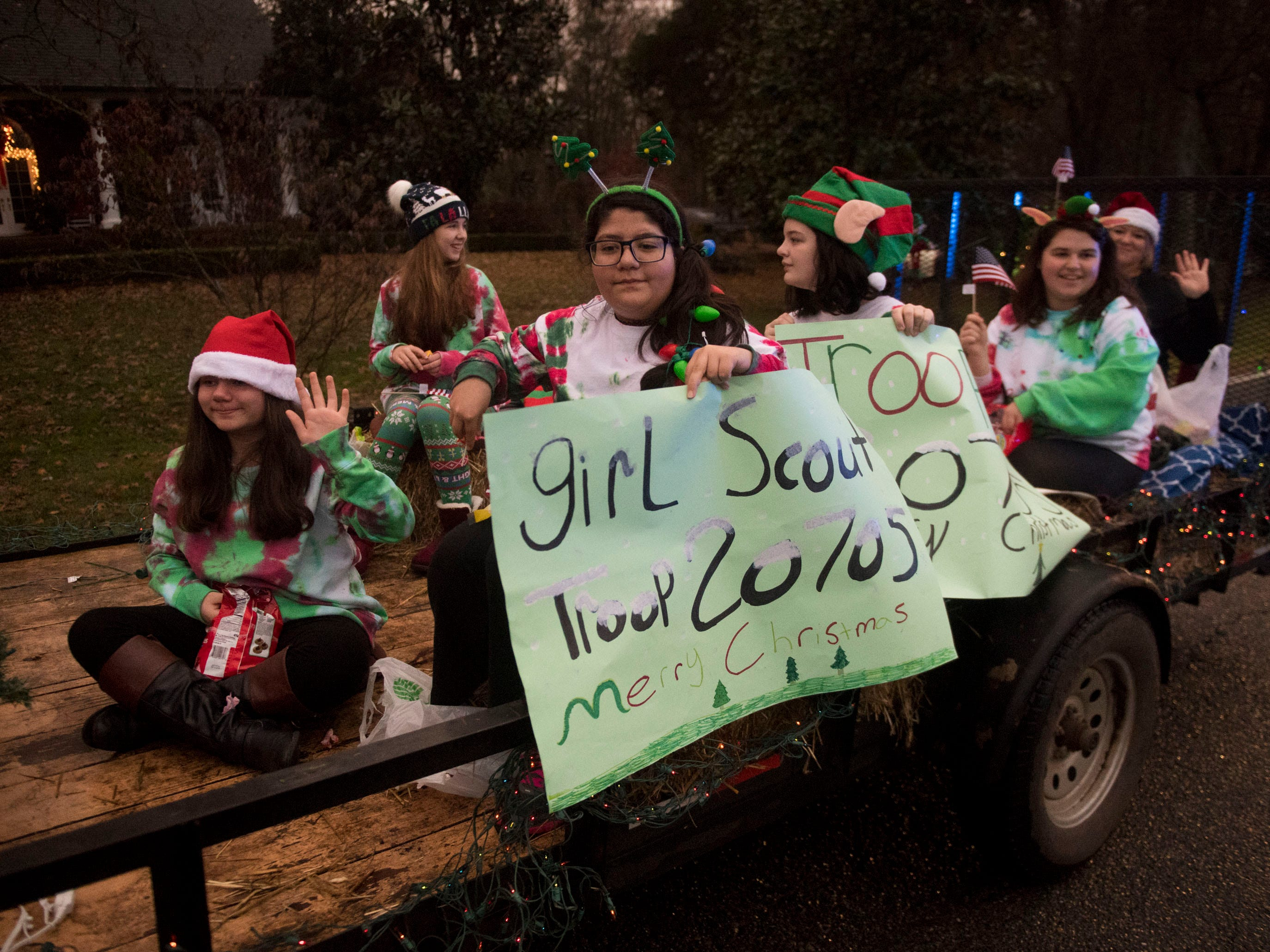Girl Scout Troop 20705 at the Powell Lions Club Christmas Parade on Saturday, December 1, 2018.
