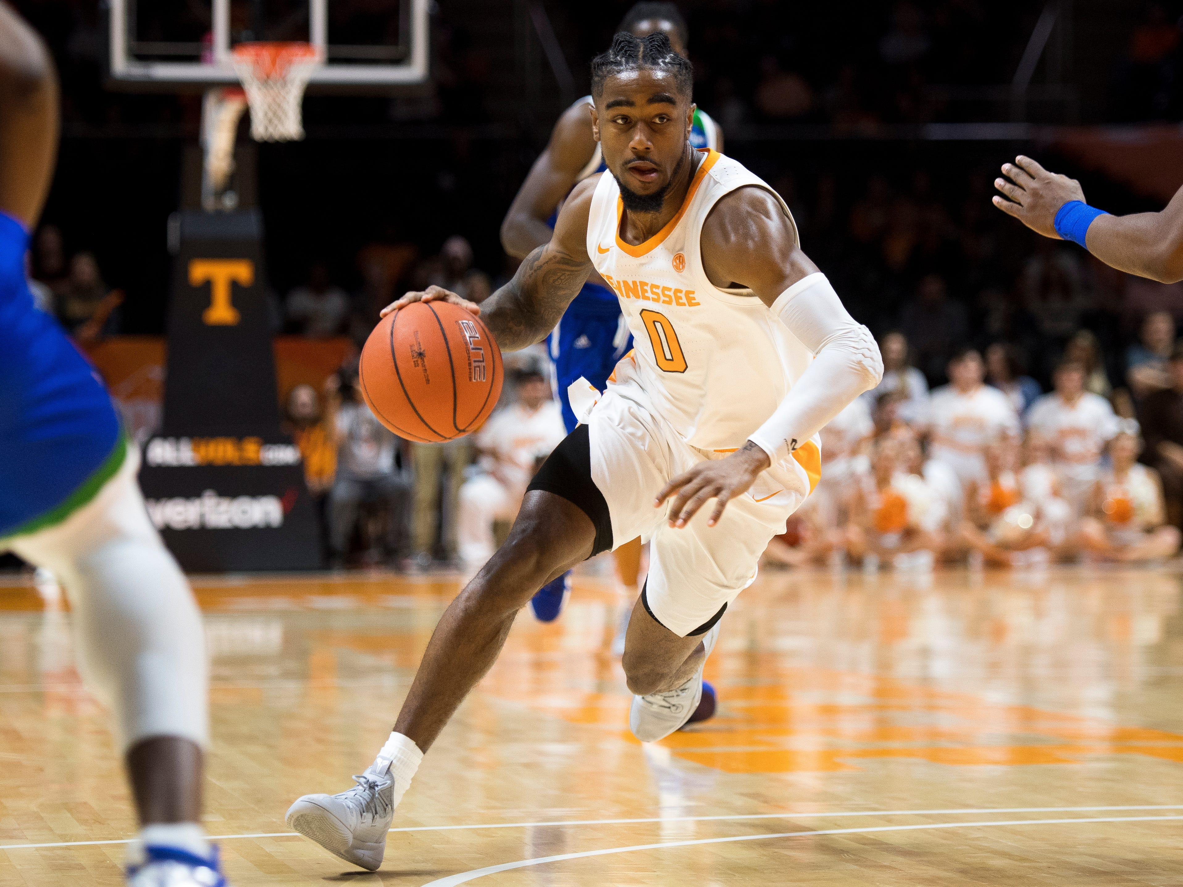 Tennessee guard Jordan Bone (0) drives down the court during the first half of the Tennessee Volunteers' home basketball game against the Texas A&M-Corpus Christi Islanders at Thompson-Boling Arena on Sunday, December 2, 2018.