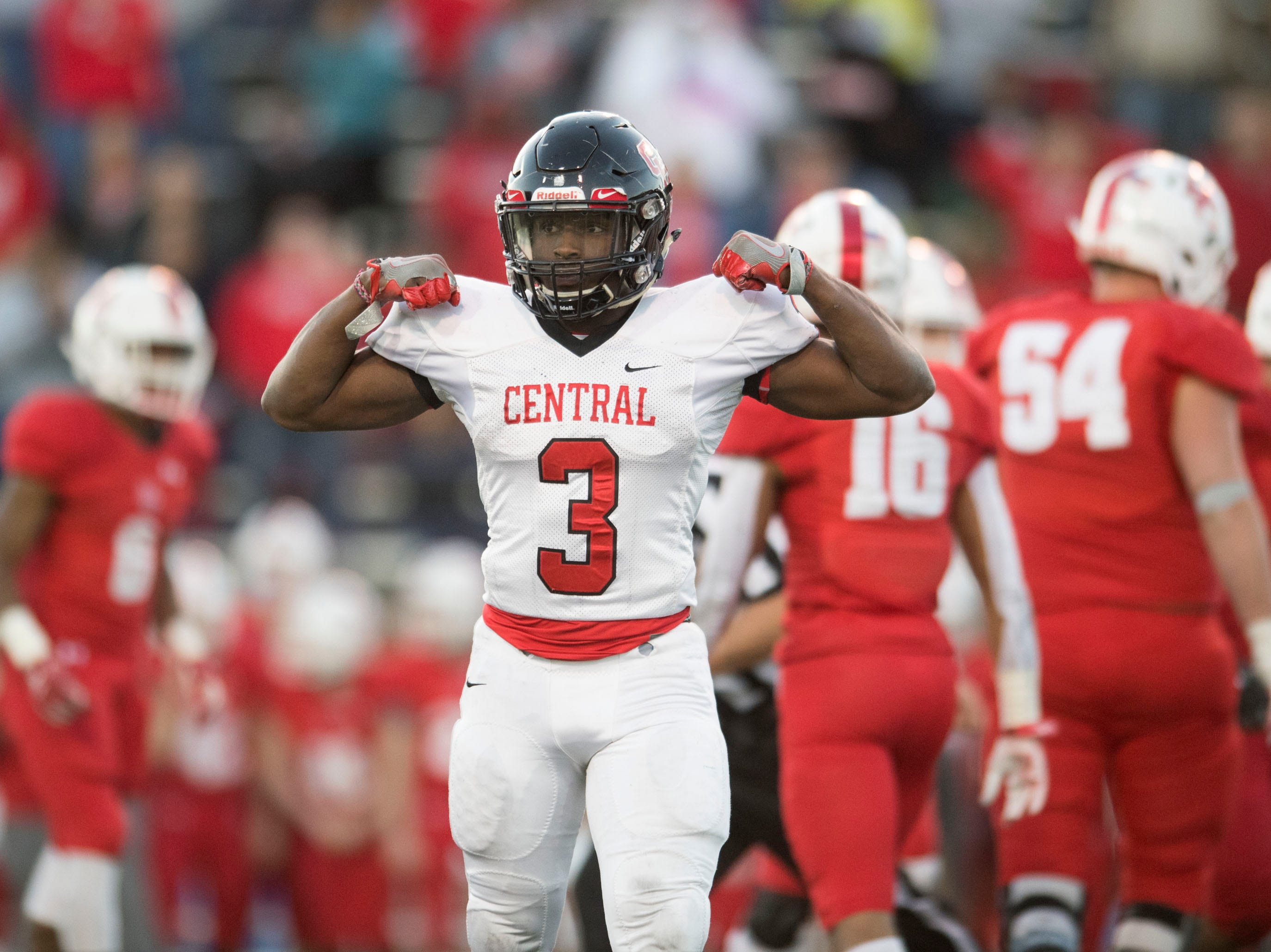 Knoxville Central's Xavier Washington (3) celebrates as the team secures a 14-9 win over Henry County in the Class 5A BlueCross Bowl at Tucker Stadium on Sunday, December 2, 2018.