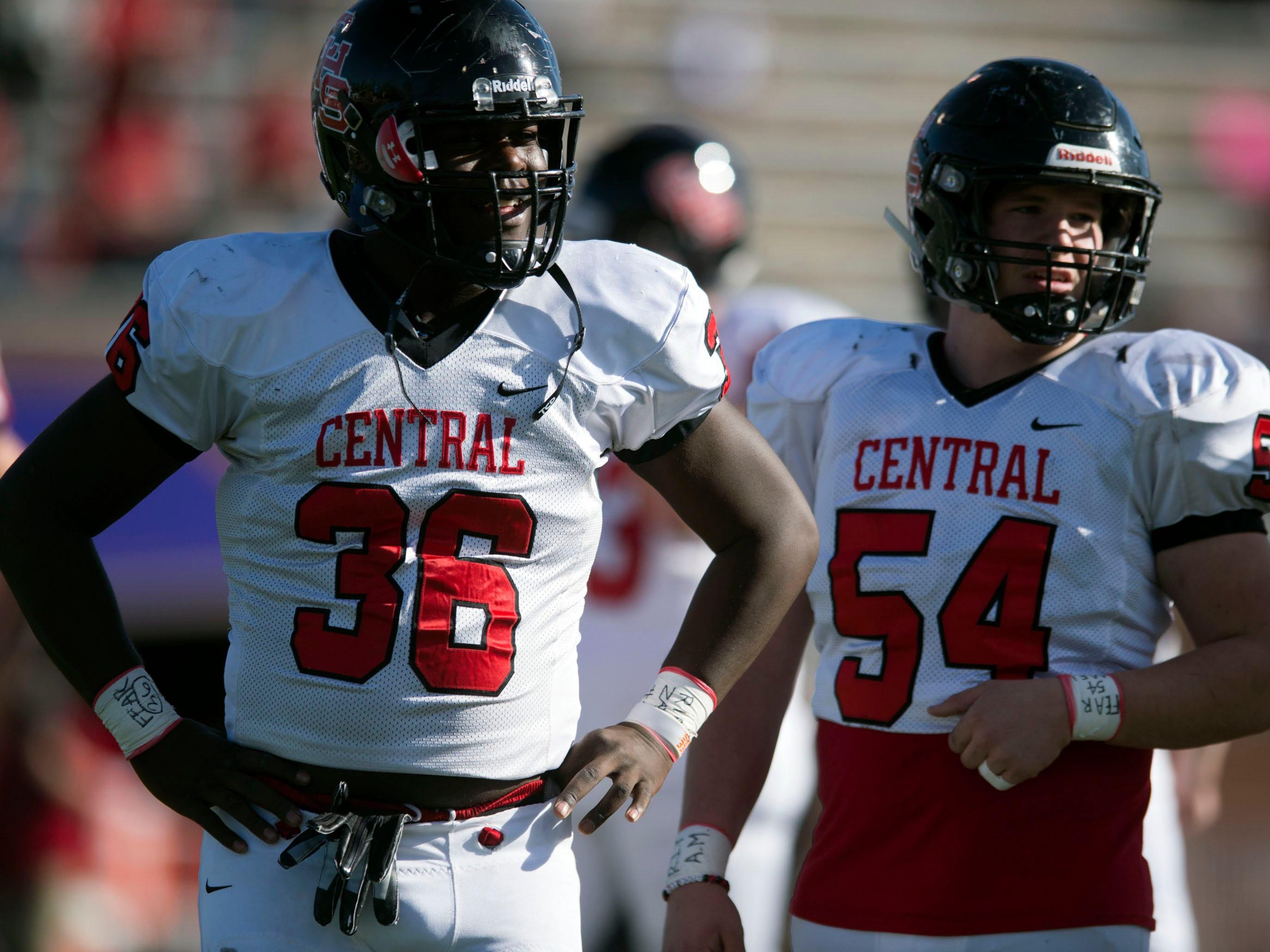Knoxville Central's Deonte Middleton (36) and Noah Parker (54) before the start of the game against Henry County in the Class 5A BlueCross Bowl at Tucker Stadium on Sunday, December 2, 2018.
