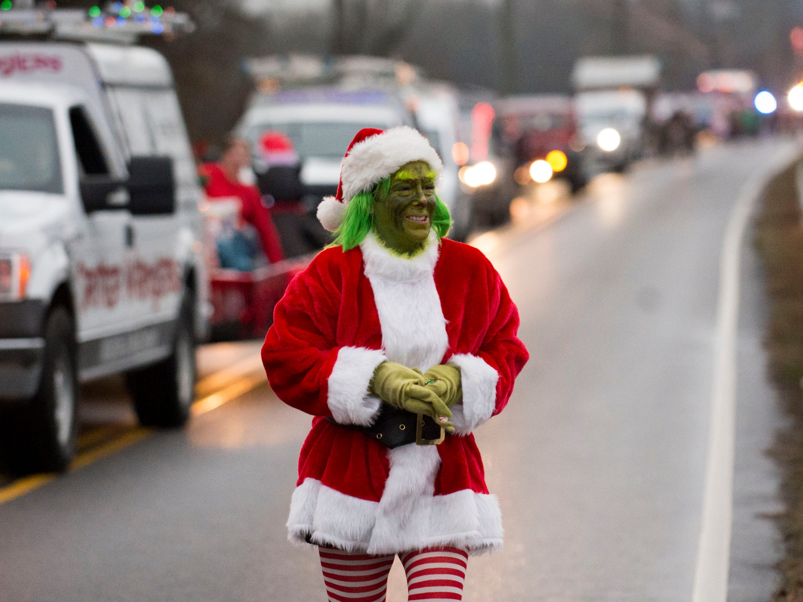 The Grinch in the Powell Lions Club Christmas Parade on Saturday, December 1, 2018.