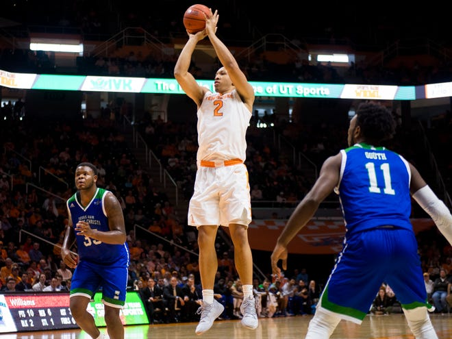 Tennessee forward Grant Williams (2) puts up a shot during the second half of the game Sunday against Texas A&M-Corpus Christi.