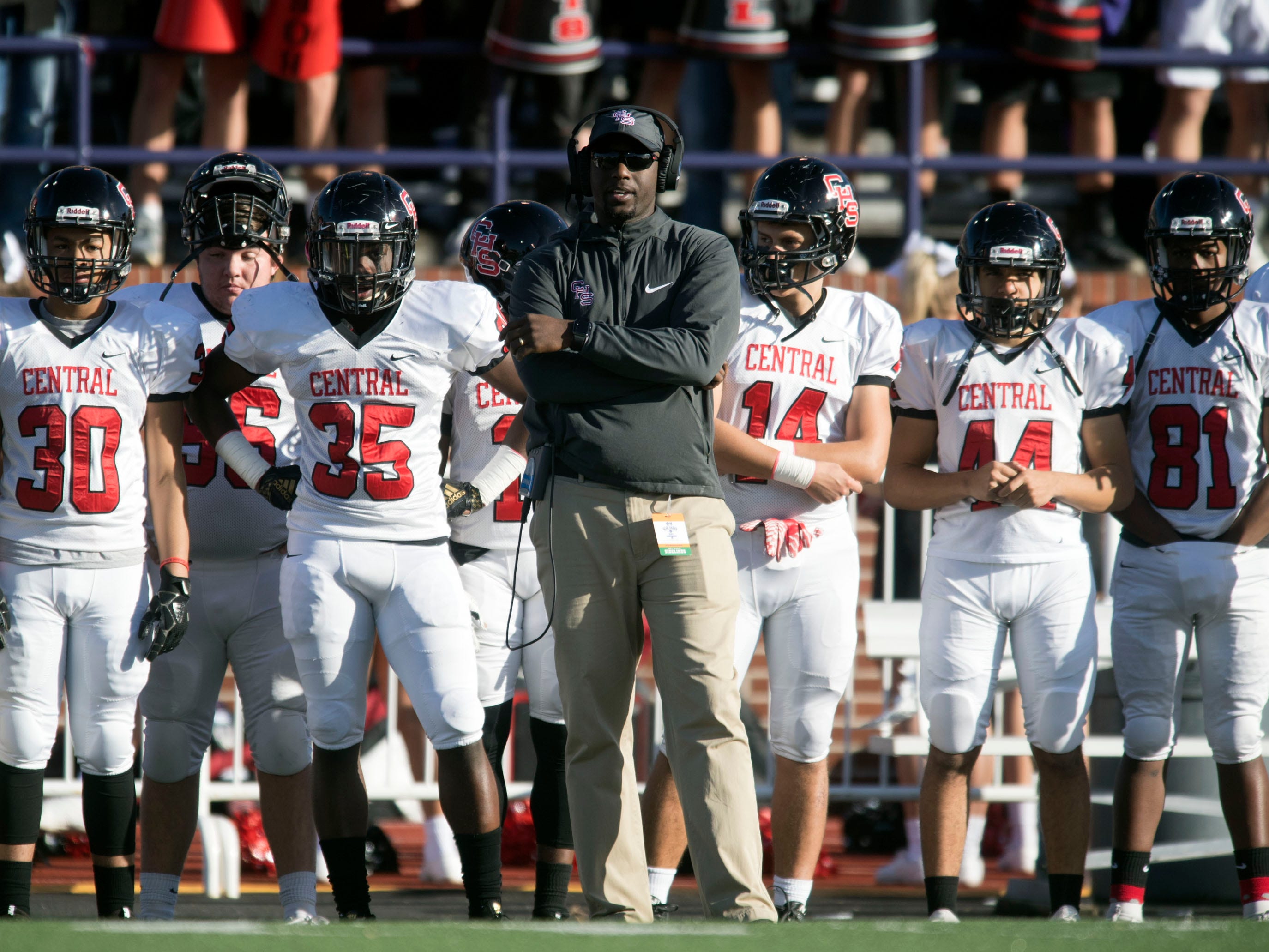 Central head coach Bryson Rosser on the sidelined during the game against Henry County in the Class 5A BlueCross Bowl at Tucker Stadium on Sunday, December 2, 2018.