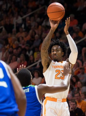 Tennessee guard Jordan Bowden (23) attempts a shot during the first half against Texas A&M-Corpus Christi on Sunday at Thompson-Boling Arena. Bowden finished with 14 points off the bench.