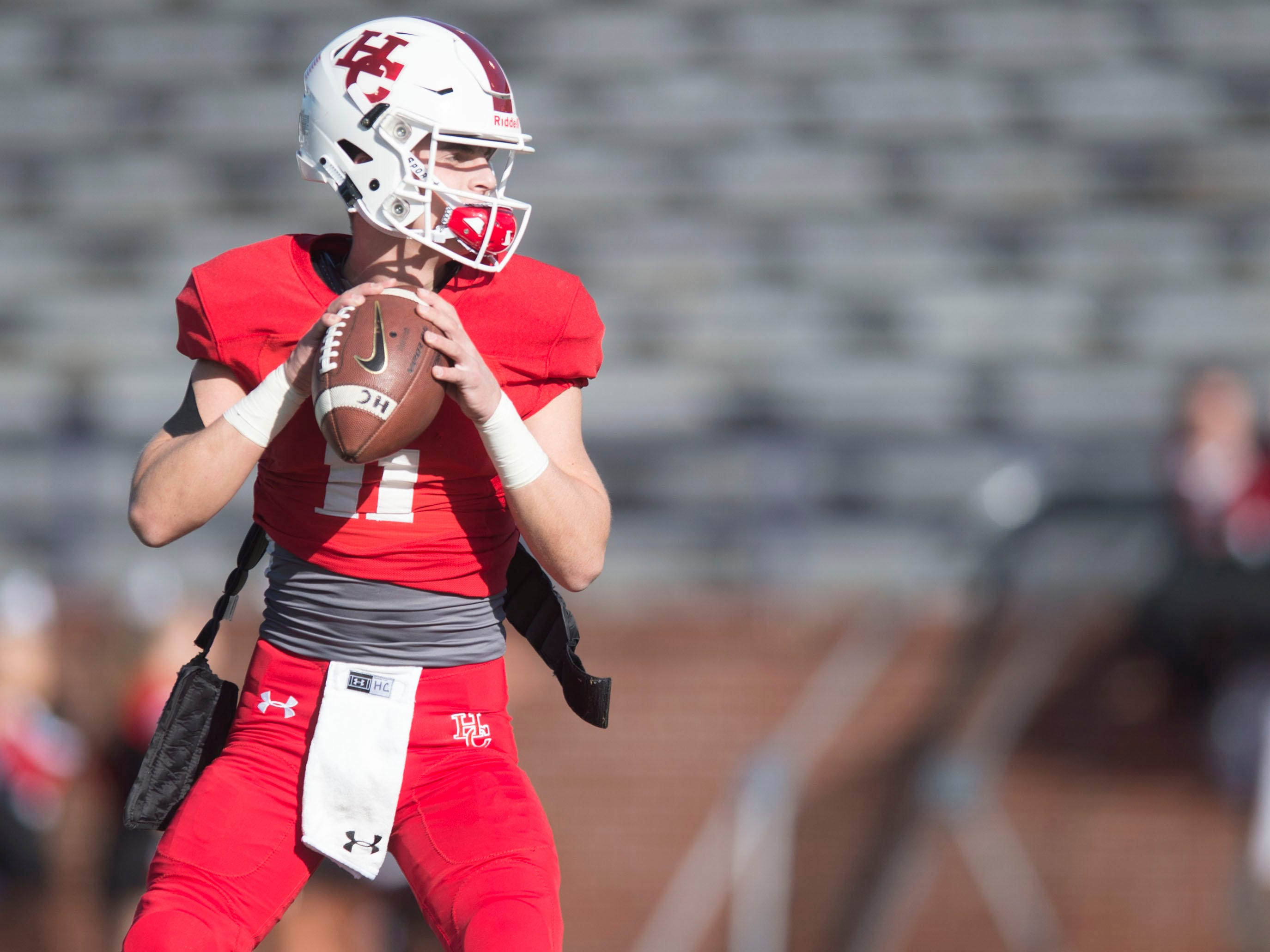 Henry County's  Will Parrish (11) warming up for the game against Knoxville Central in the Class 5A BlueCross Bowl at Tucker Stadium on Sunday, December 2, 2018.
