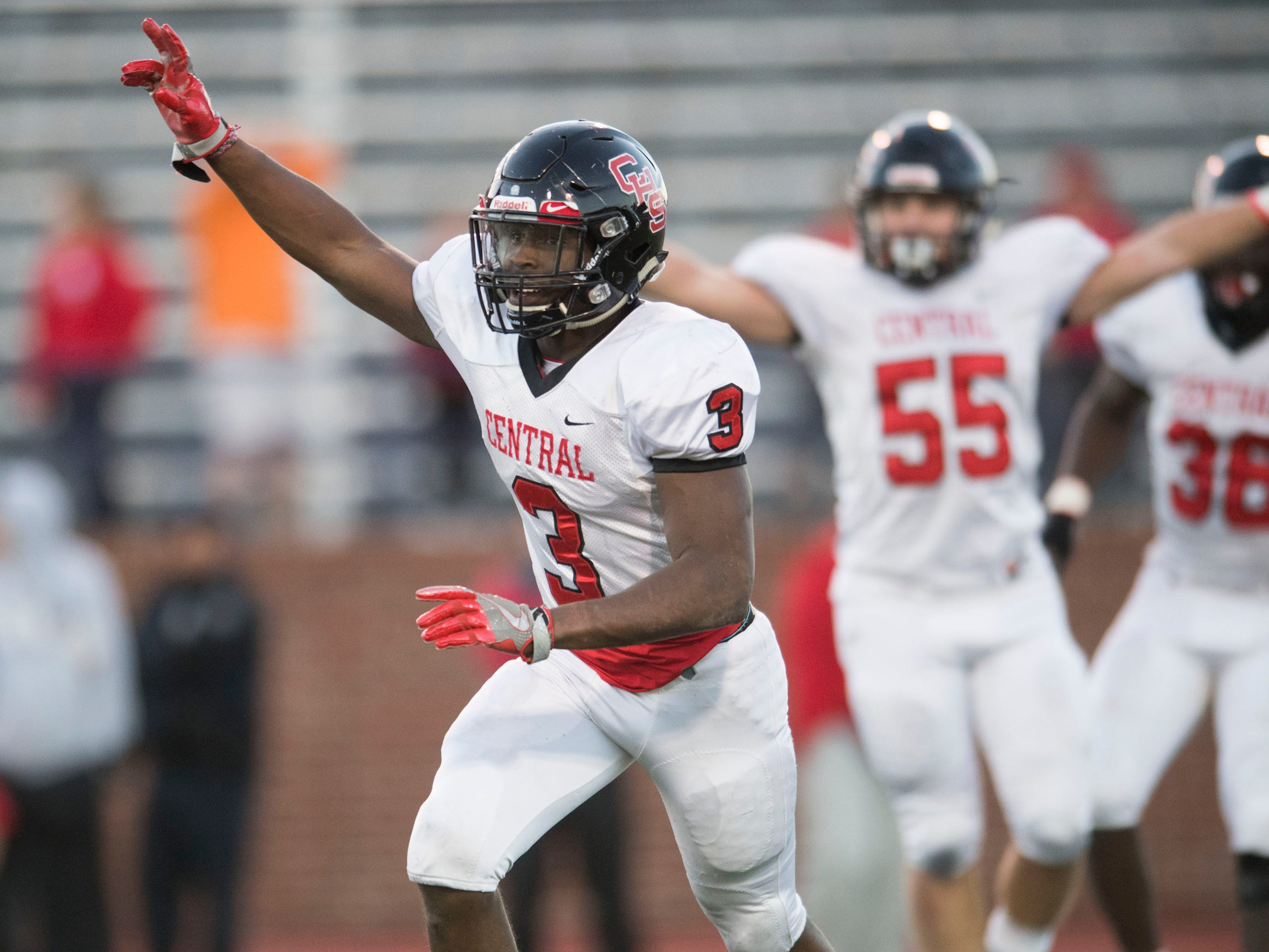 Knoxville Central's Xavier Washington (3) celebrates as the clock runs down in Central's victory over Henry County in the Class 5A BlueCross Bowl at Tucker Stadium on Sunday, December 2, 2018.
