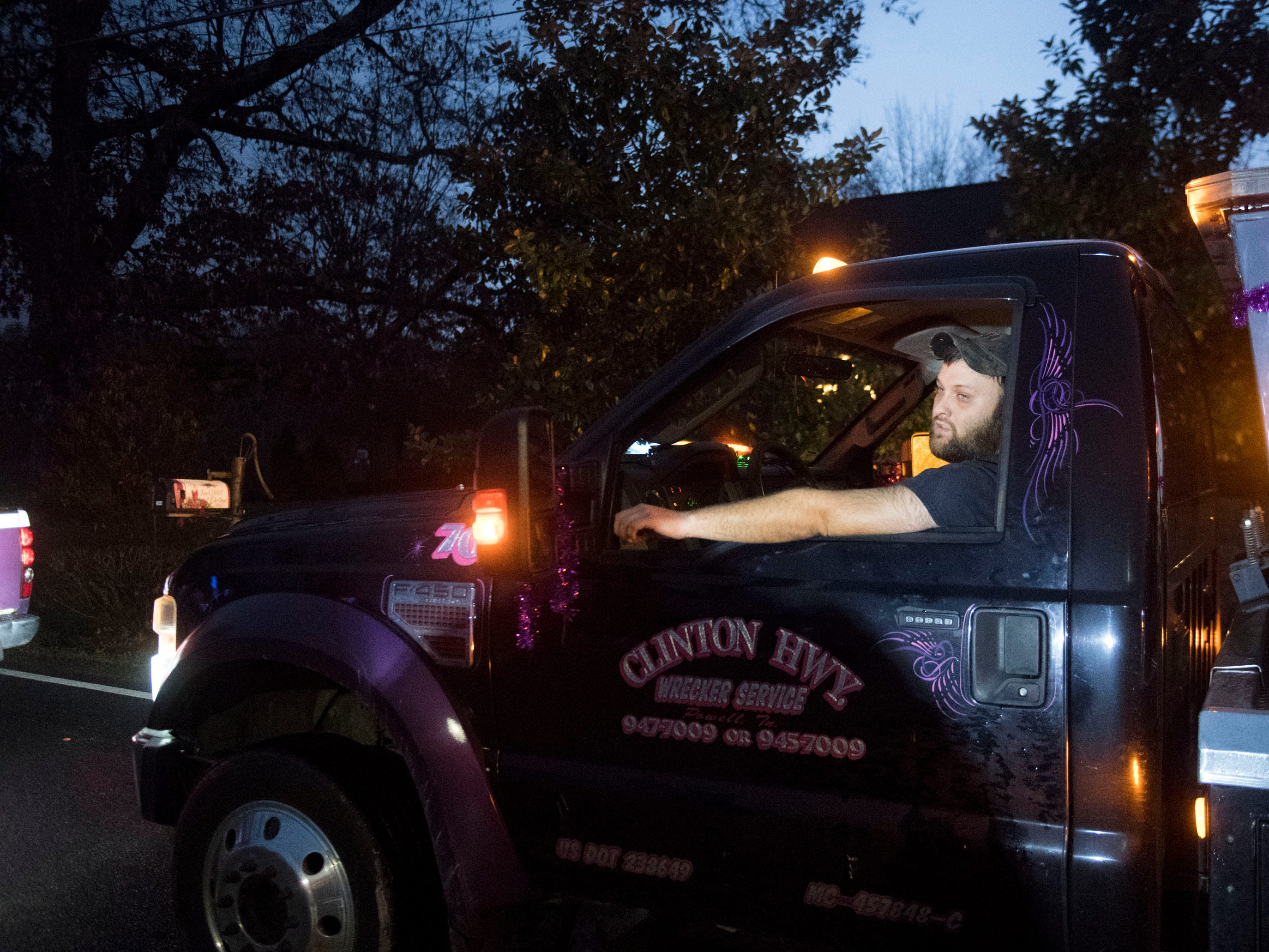Clinton Highway Wrecker Service in the Powell Lions Club Christmas Parade on Saturday, December 1, 2018.