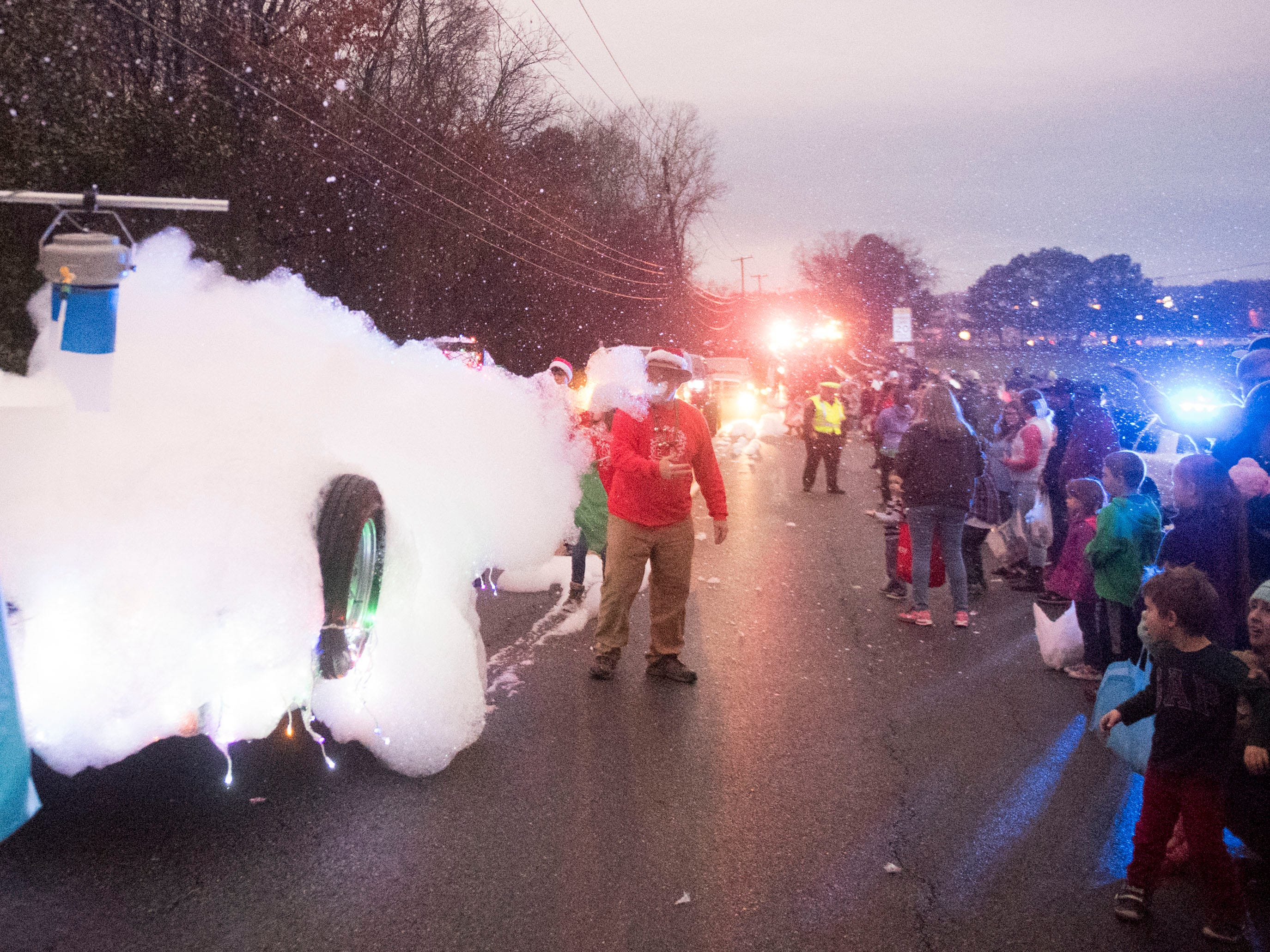 Party On! Knoxville's foam machine in the Powell Lions Club Christmas Parade on Saturday, December 1, 2018.