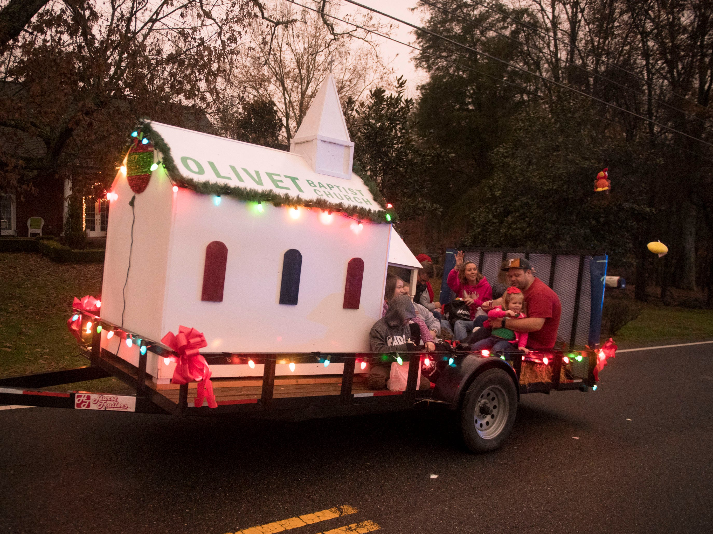 The Olivet Baptist Church float in the Powell Lions Club Christmas Parade on Saturday, December 1, 2018.