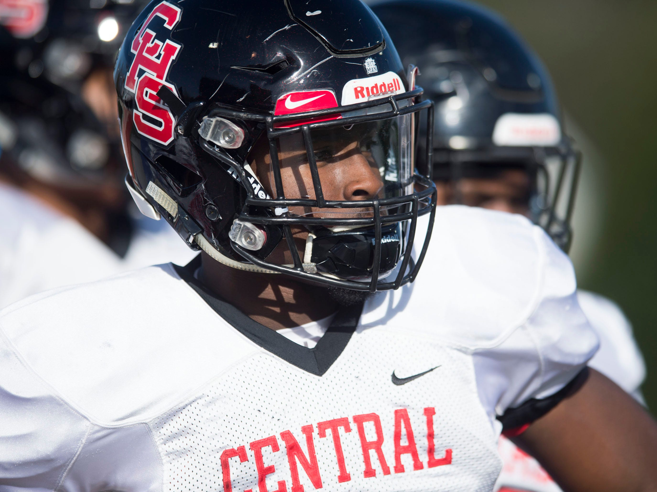 Knoxville Central's Xavier Washington (3) before the start of the game against Henry County in the Class 5A BlueCross Bowl at Tucker Stadium on Sunday, December 2, 2018.