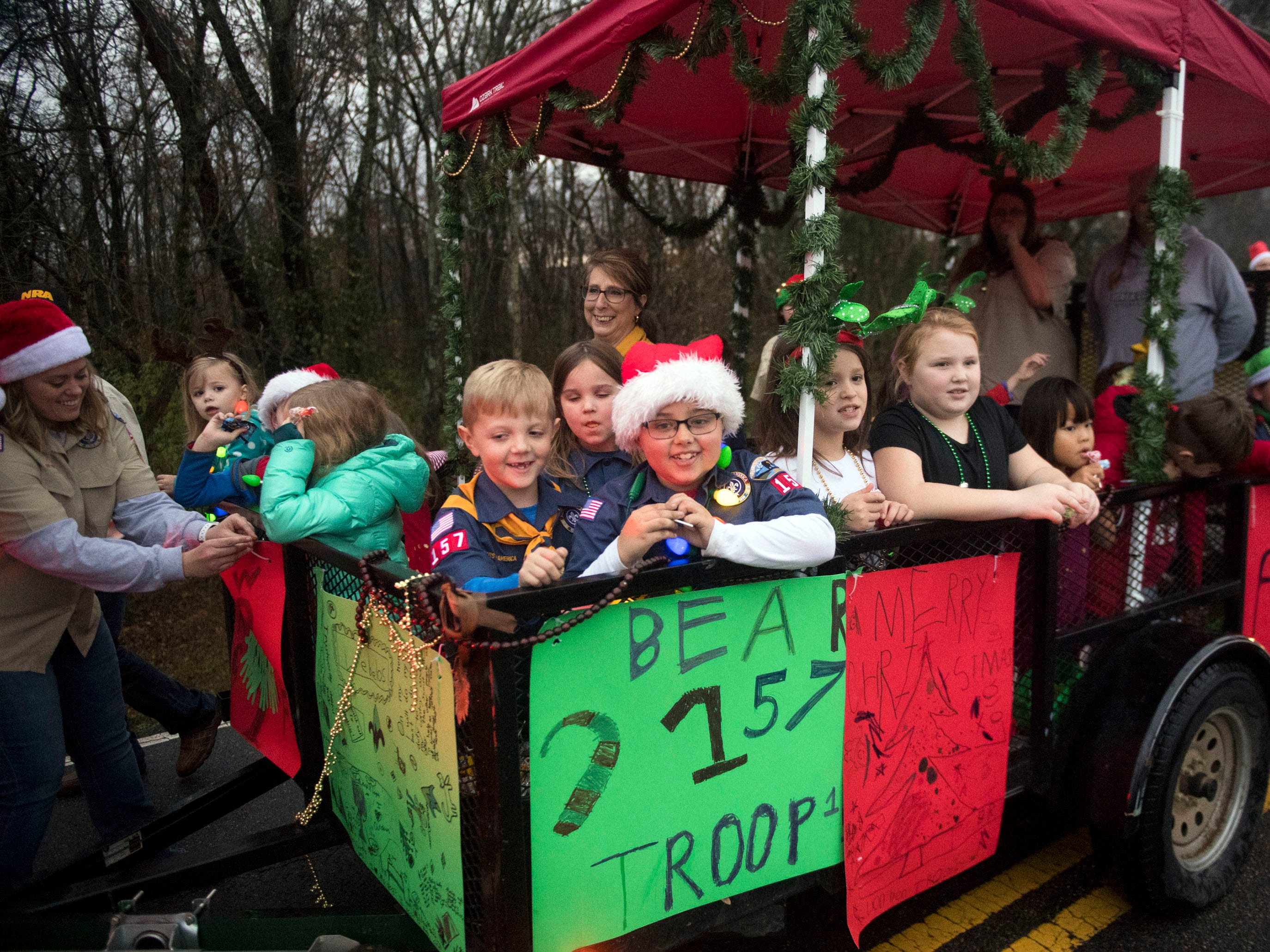 Powell Cub Scout Pack 157 in the Powell Lions Club Christmas Parade on Saturday, December 1, 2018.