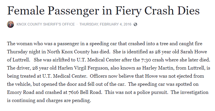 A Feb. 4, 2016, news release from the Knox County Sheriff's Office said the crash that killed Sarah Howe did not occur after a police pursuit.