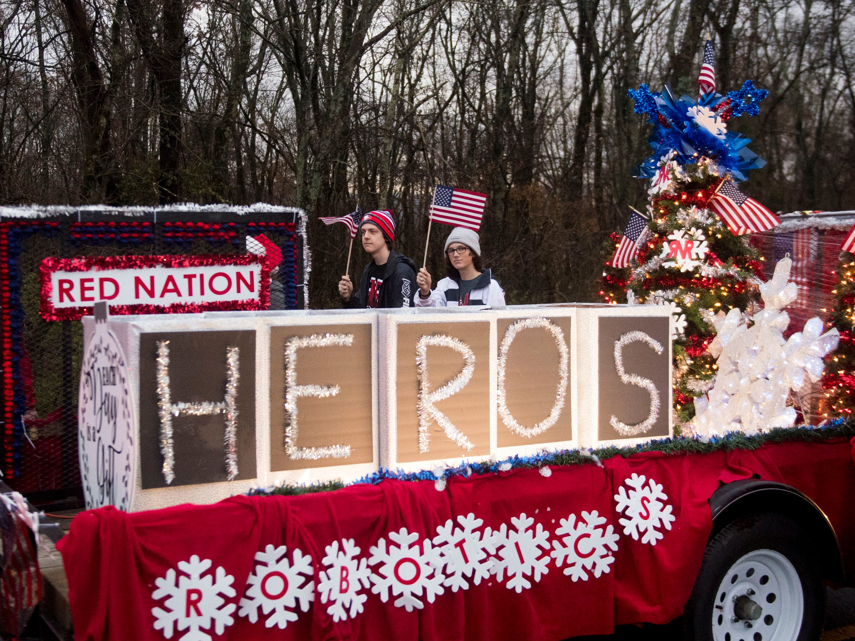 The Halls High School Red Nation robotics team in the Powell Lions Club Christmas Parade on Saturday, December 1, 2018.