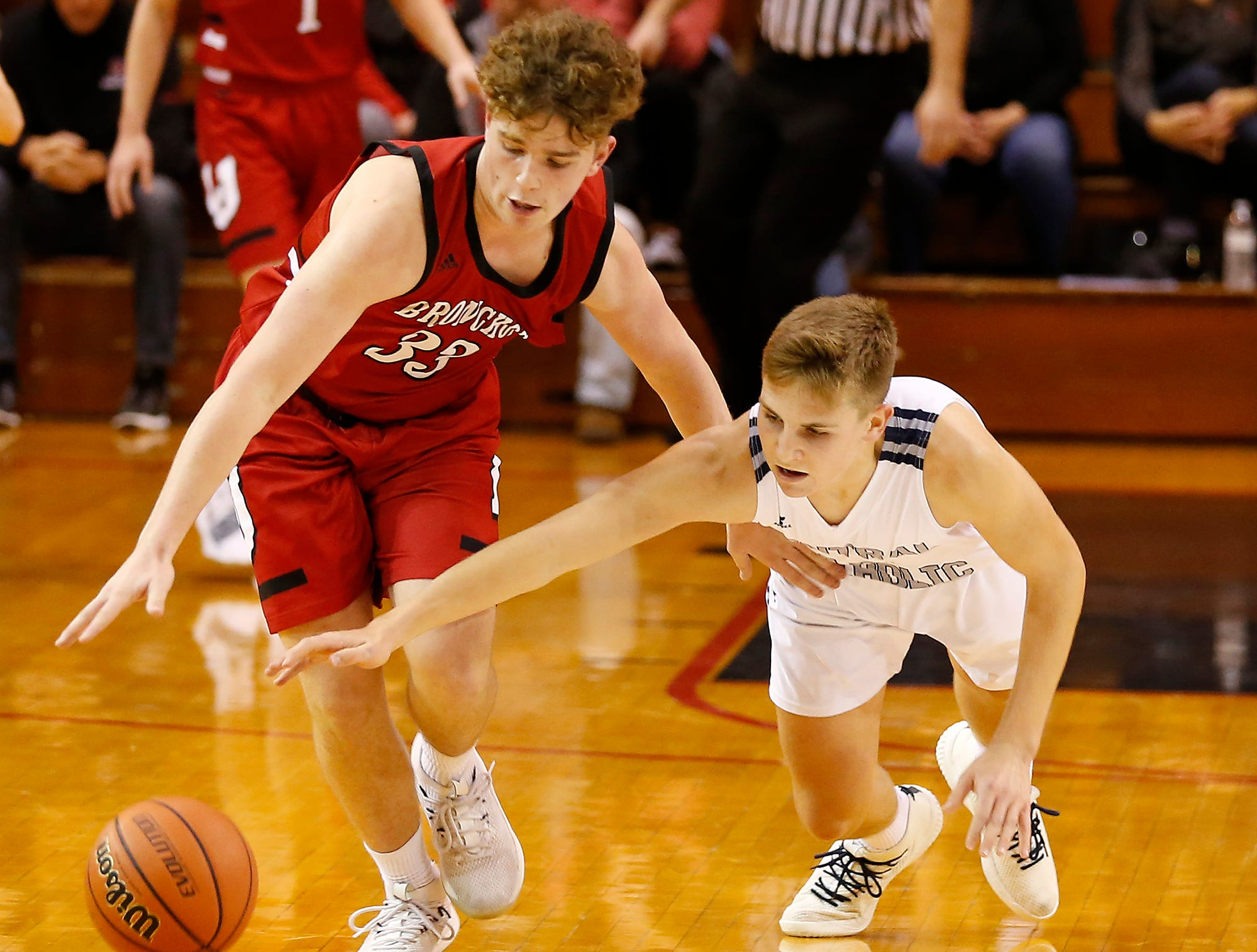 Ashton Beaver of Lafayette Jeff steals the ball from A. J. Bordenet of Central Catholic in the championship of the Franciscan Health Hoops Classic Saturday, December 1, 2018, at Lafayette Jeff. Jeff defeated Central Catholic 76-73 for the title.