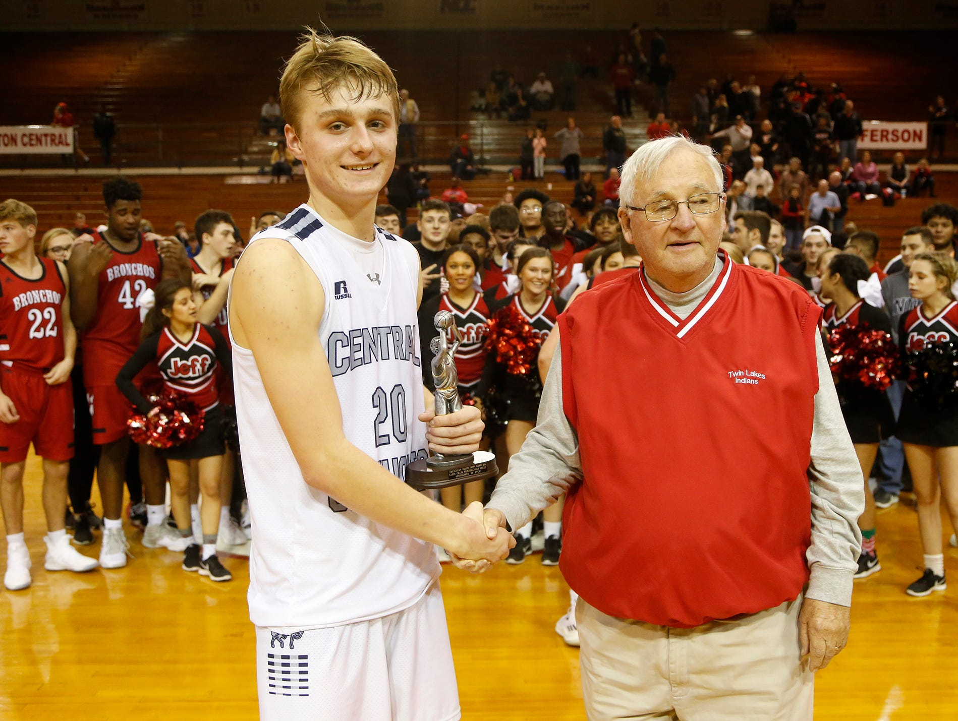 David Schwartz of Central Catholic is presented with the Larry Crabb Sportsmanship Award following the championship of the Franciscan Health Hoops Classic Saturday, December 1, 2018, at Lafayette Jeff. Lafayette Jeff defeated Central Catholic 76-73 for the title.