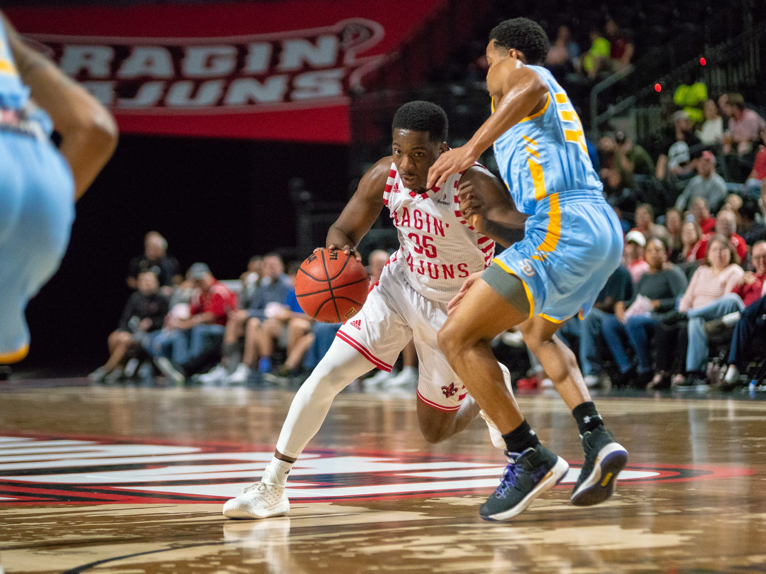 UL's Marcus Stroman drives through the defense to get to the goal as the Ragin' Cajuns play against the Southern University Jaguars at the Cajundome on December 1, 2018.