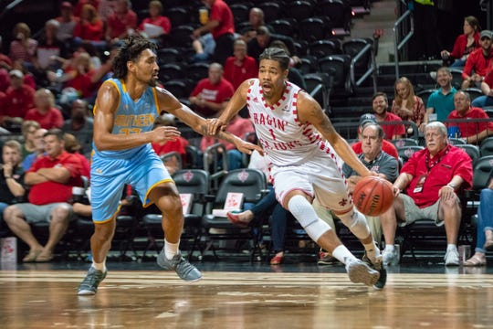 UL's Malik Marquetti drives to the goal as the Ragin' Cajuns play against the Southern University Jaguars at the Cajundome on December 1, 2018.