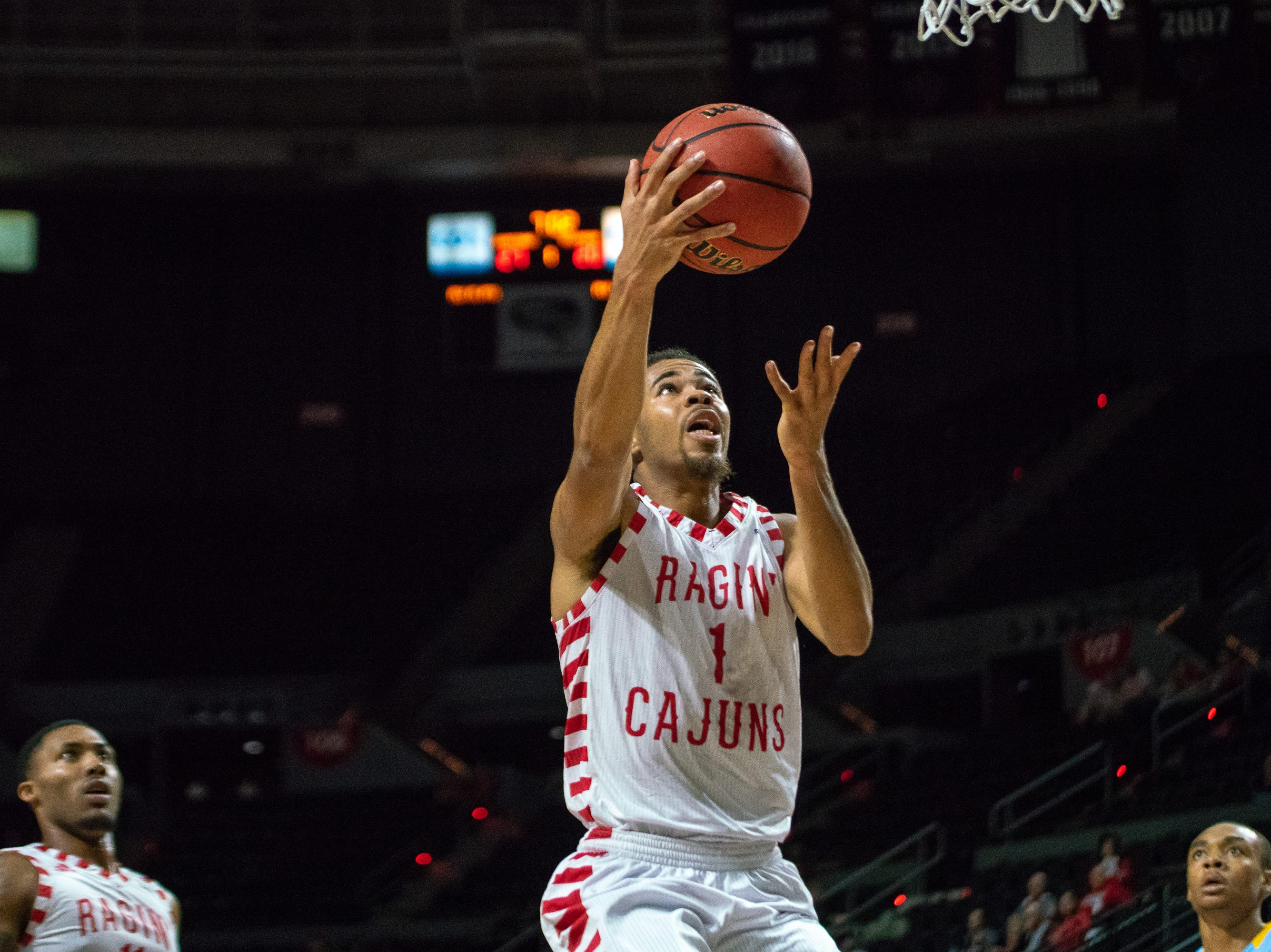 UL's Malik Marquetti goes up for a layup as the Ragin' Cajuns play against the Southern University Jaguars at the Cajundome on December 1, 2018.