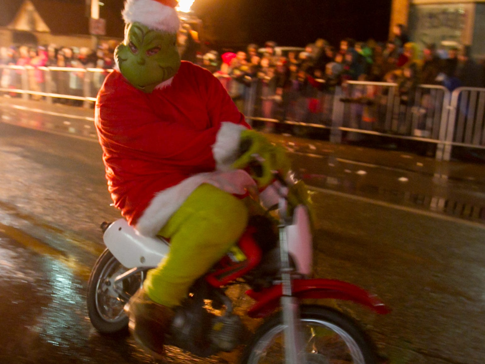 The Grinch tore up the parade route in the Christmas in the 'Ville parade Saturday, Dec. 1, 2018.