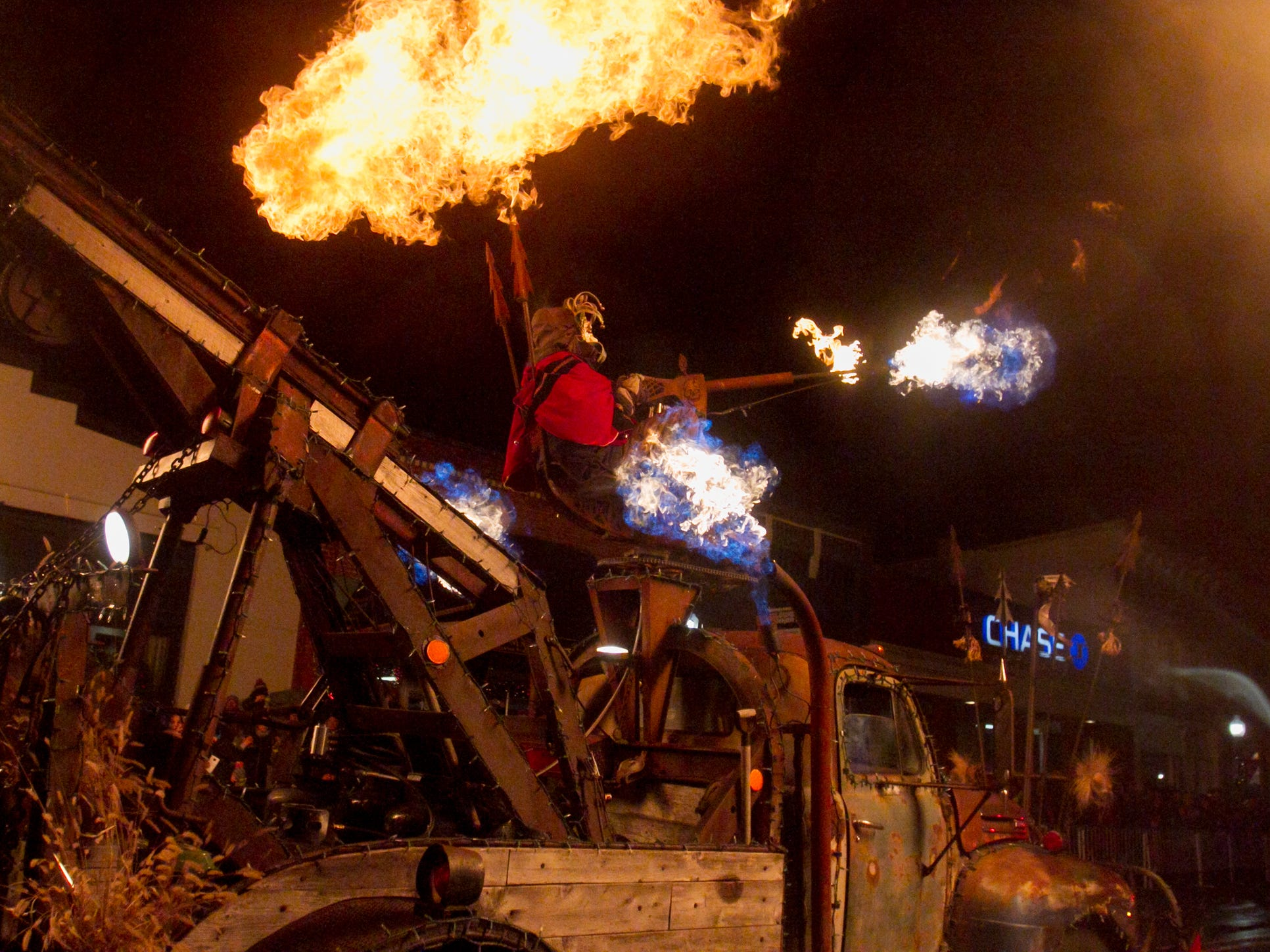 Scrap Yard Choppers brought their own fire to the Christmas in the 'Ville parade Saturday, Dec. 1, 2018.