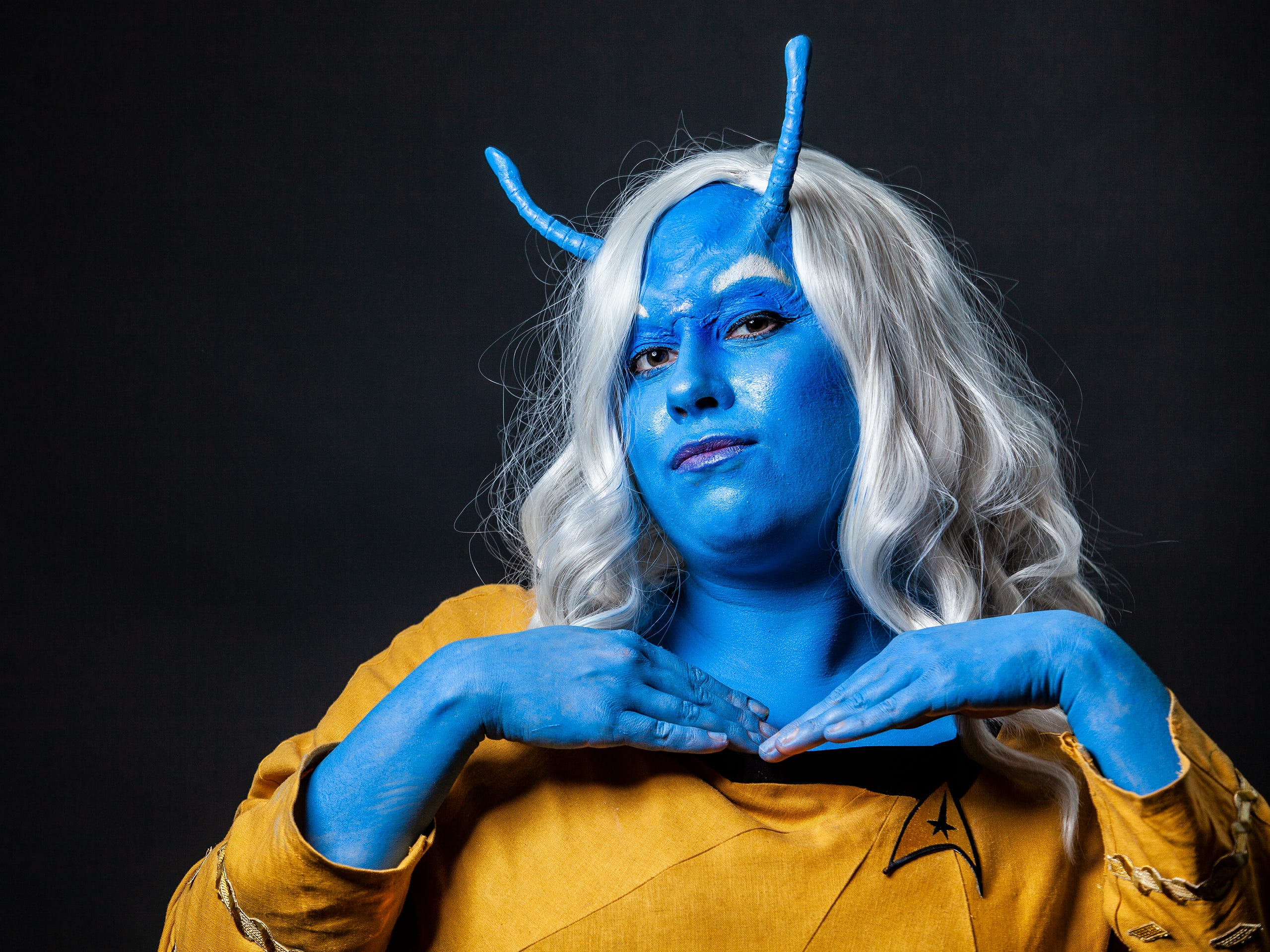 Sarah Stanfield poses as an Andorian for the Louisville Supercon at the Kentucky International Convention Center on Saturday, Dec. 1, 2018.