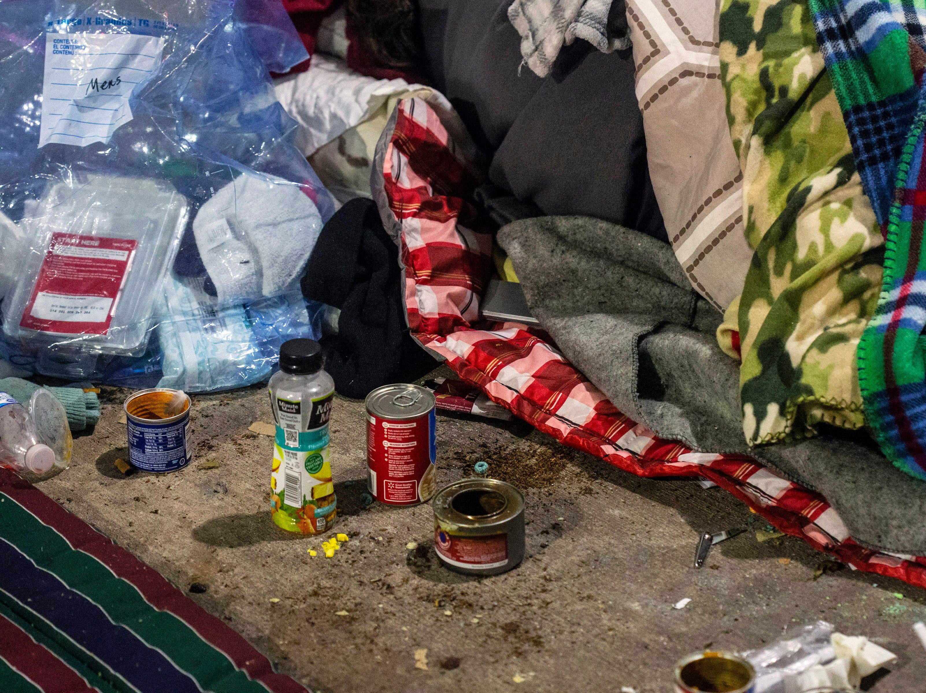 Covered stretches of Jefferson Street have become default campgrounds for the homeless that can't get into nearby Wayside Mission when it reaches capacity. 11/26/18