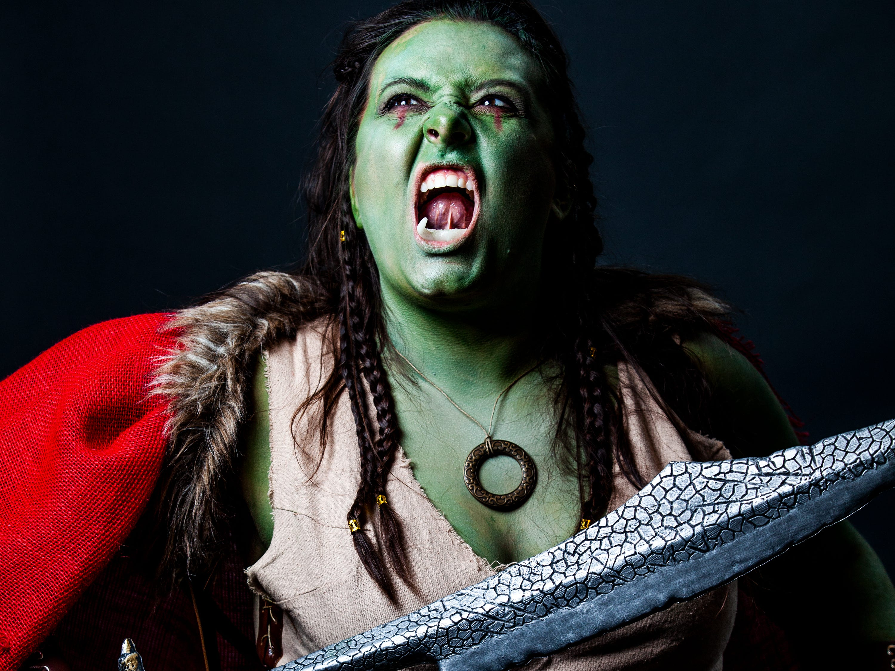 Amber poses as an Orc for the Louisville Supercon at the Kentucky International Convention Center on Saturday, Dec. 1, 2018.
