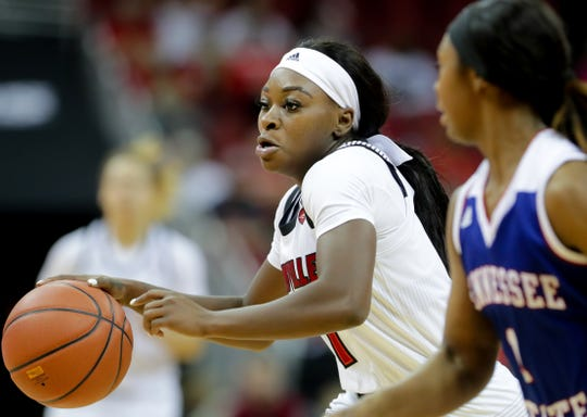 Louisville's Dana Evans drives the ball up the court against Tennessee State. Dec. 2, 2018