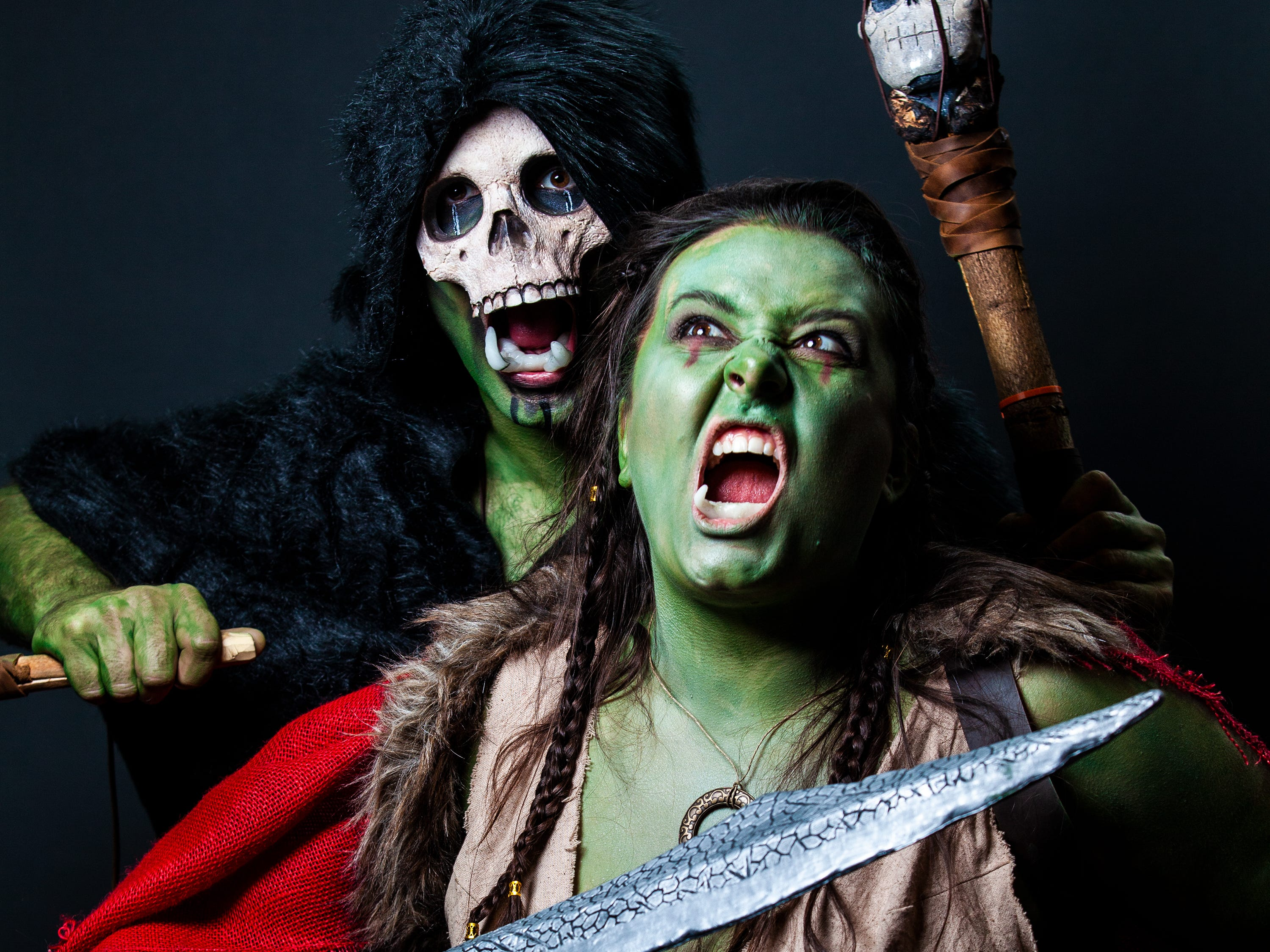 Amber and Brandon pose as Orcs for the Louisville Supercon at the Kentucky International Convention Center on Saturday, Dec. 1, 2018.