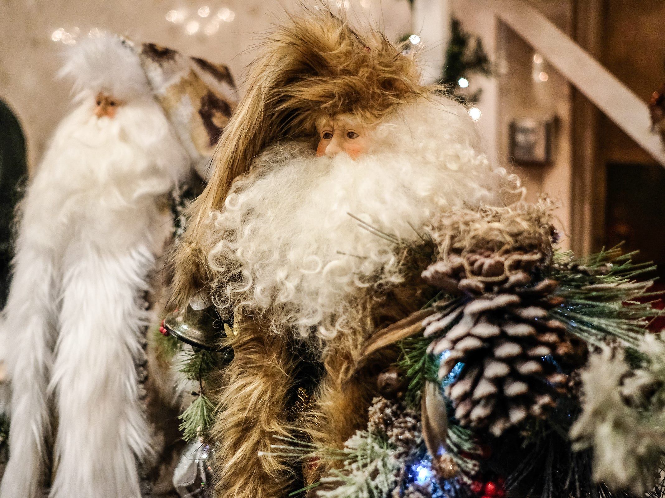Handmade Old World and Victorian Santas by Esther Straus and Carla Schafer are on display at the MSU Winter Arts & Craft Show at the Union Building Sunday, Dec. 2, 2018.