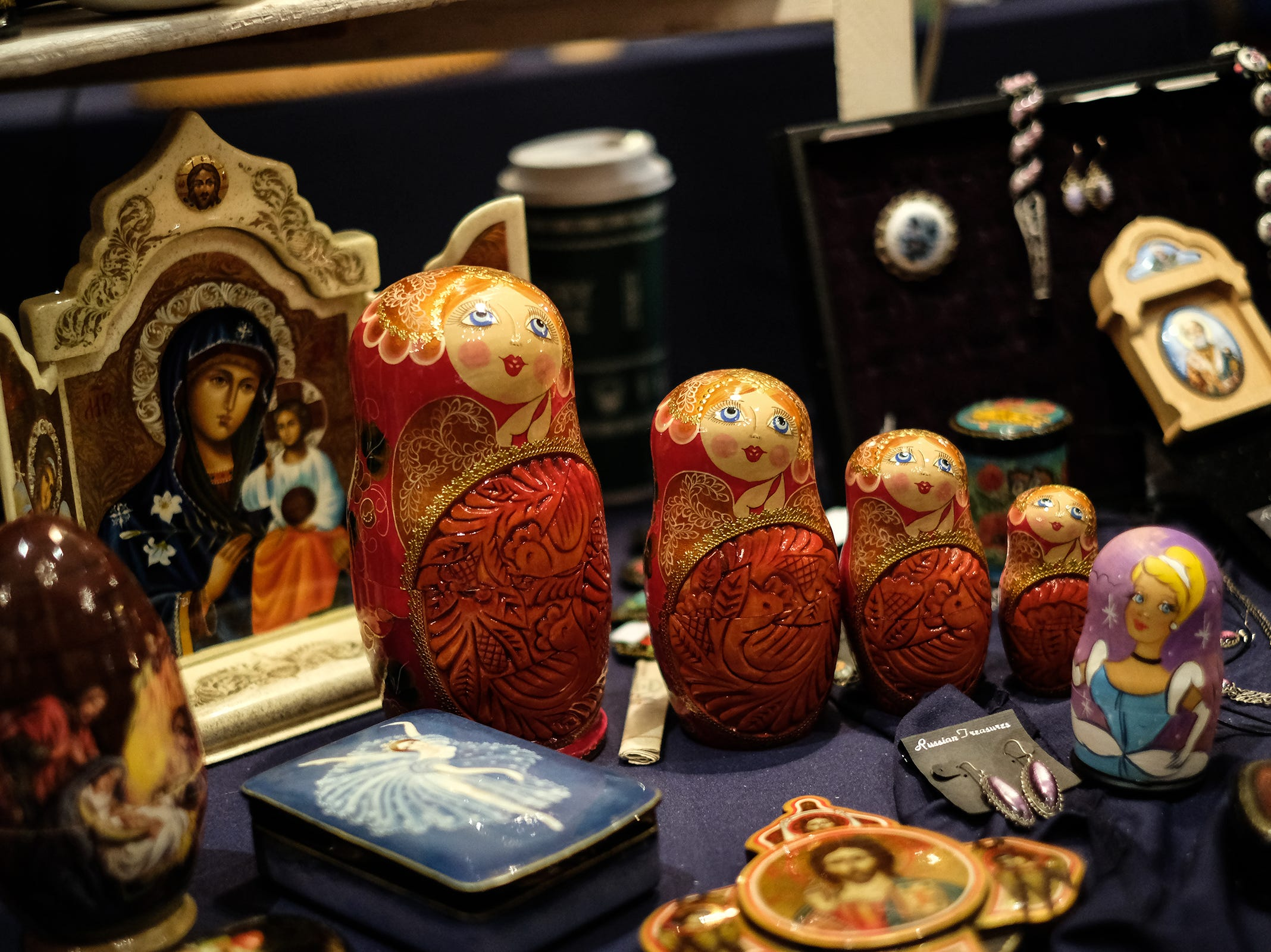 Russian nesting dolls and other pieces representing 60 artists by Ludmila's Russian Treasures are on display at the MSU Winter Arts & Craft Show Sunday, Dec. 2, 2018.