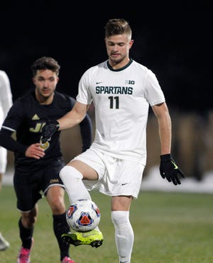 Michigan State's Ryan Sierakowski controls the ball against James Madison, Dec. 1 in East Lansing. MSU won 2-1.