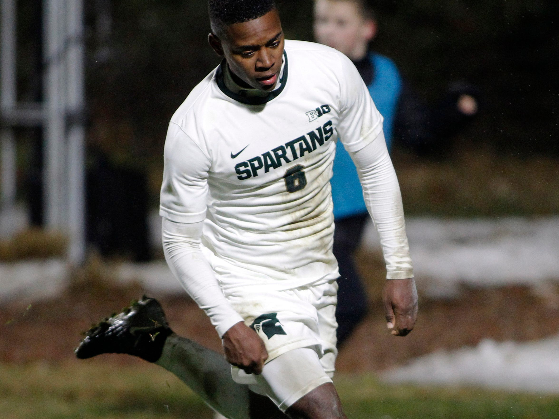 Michigan State's DeJuan Jones chases the ball against James Madison, Saturday, Dec. 1, 2018, in East Lansing, Mich. Michigan State won 2-1.