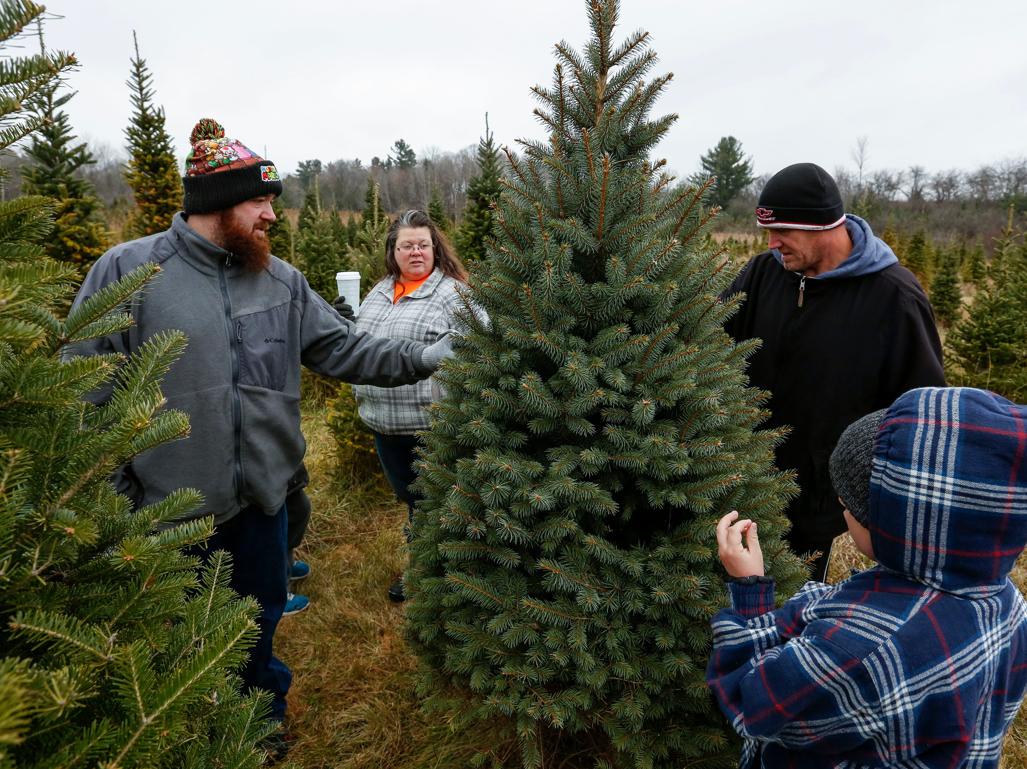 From left, Cody Graham, Jeanne Rutherford, David Schultz and Cody Jr., 8, find the perfect Christmas tree at Taylor Trees Saturday, December 1, 2018, in Mishicot, Wis. Joshua Clark/USA TODAY NETWORK-Wisconsin
