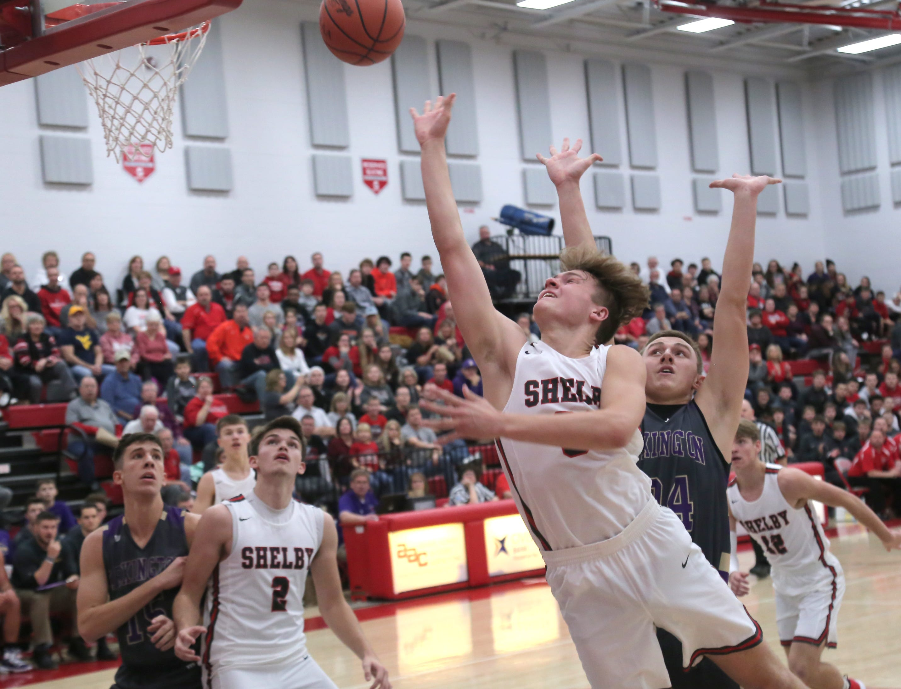 Shelby's Uriah Schwemley makes a jump shot while playing against Lexington on Saturday.