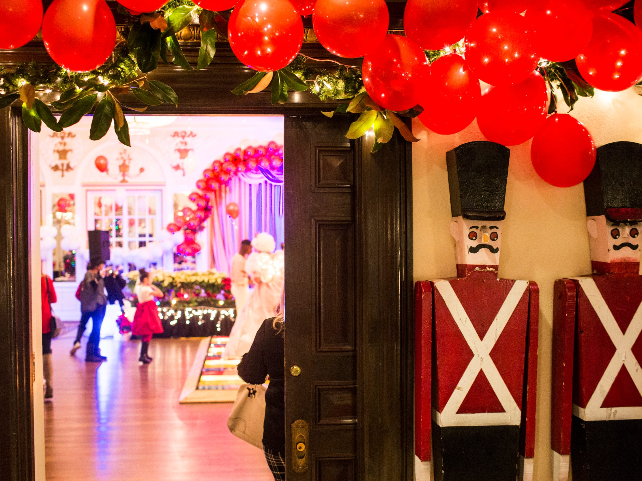 December 02 2018 - Nutcrackers are seen at the entrance to the Memphis Jingle Bell Ball Holiday Cookie Party inside of the Continental Ballroom at the Peabody Hotel on Sunday. This was the 30th anniversary of the Jingle Bell Ball.