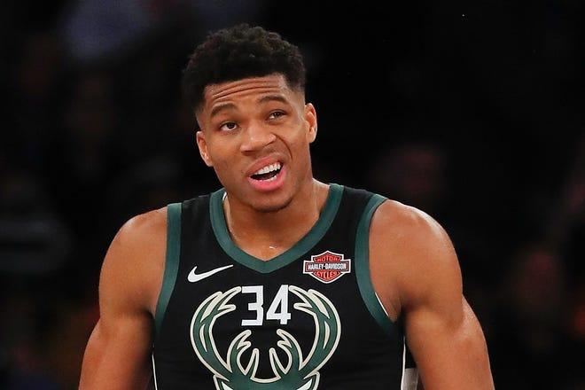 Giannis Antetokounmpo said after the game that he's none too pleased with Mario Hezonja after the Knicks forward stepped over him after a dunk in the first quarter.