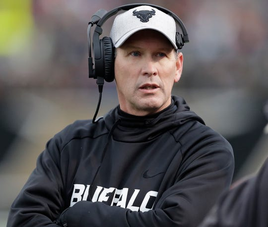 Buffalo head coach Lance Leipold is in his fifth season with the Bulls. (AP Photo/Carlos Osorio, File)