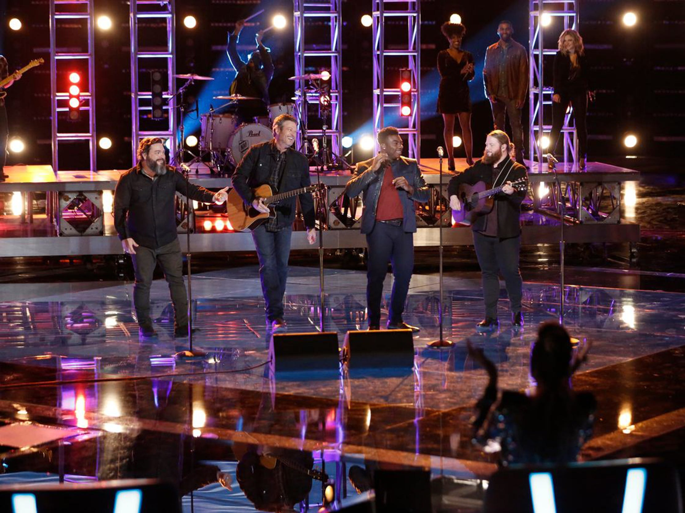 "Team Blake members Dave Fenley, coach Blake Shelton, Kirk Jay and Chris Kroeze perform ""Dixieland Delight"" on Tuesday, Nov. 27."